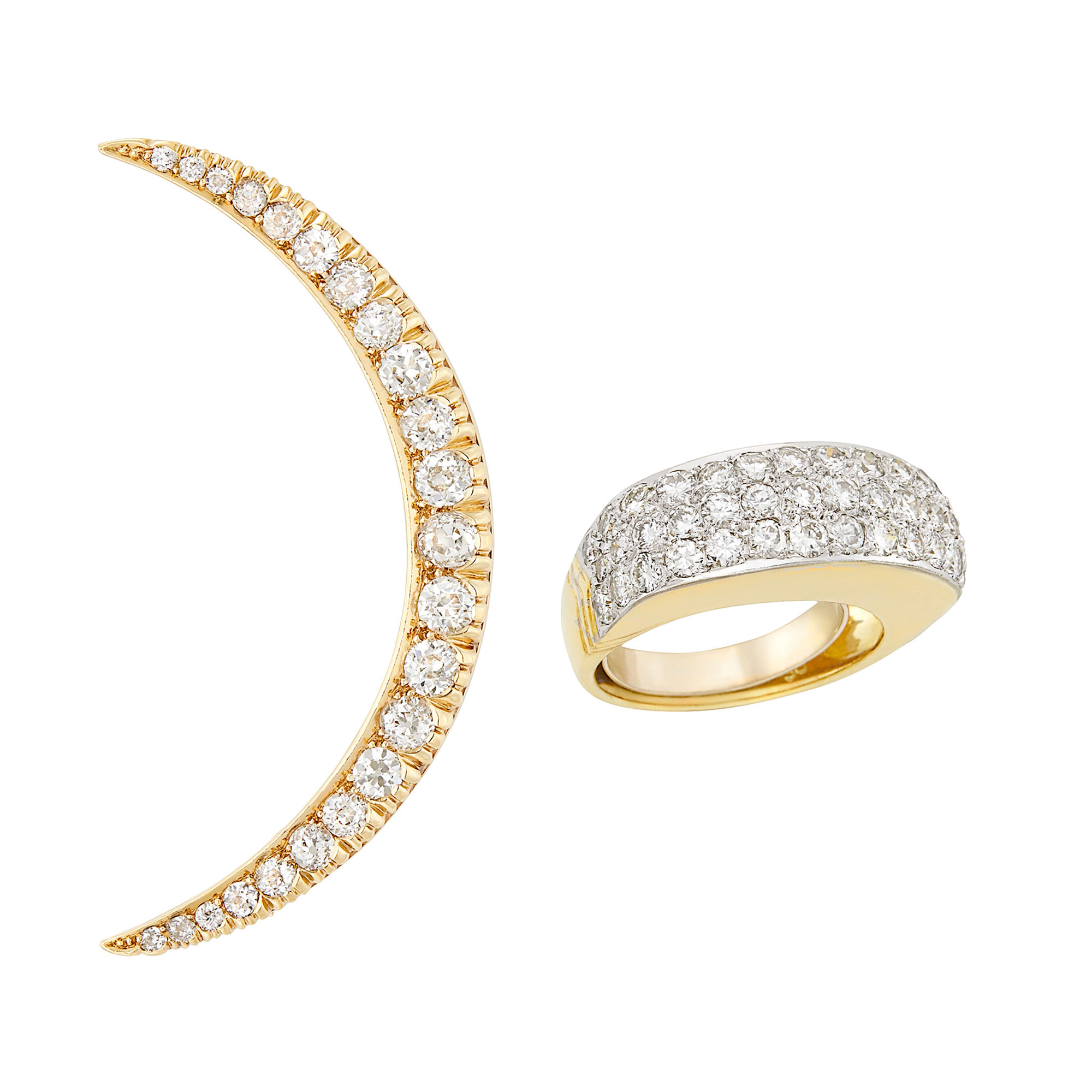 Lot image - Gold and Diamond Crescent Brooch and Two-Color Gold and Diamond Ring