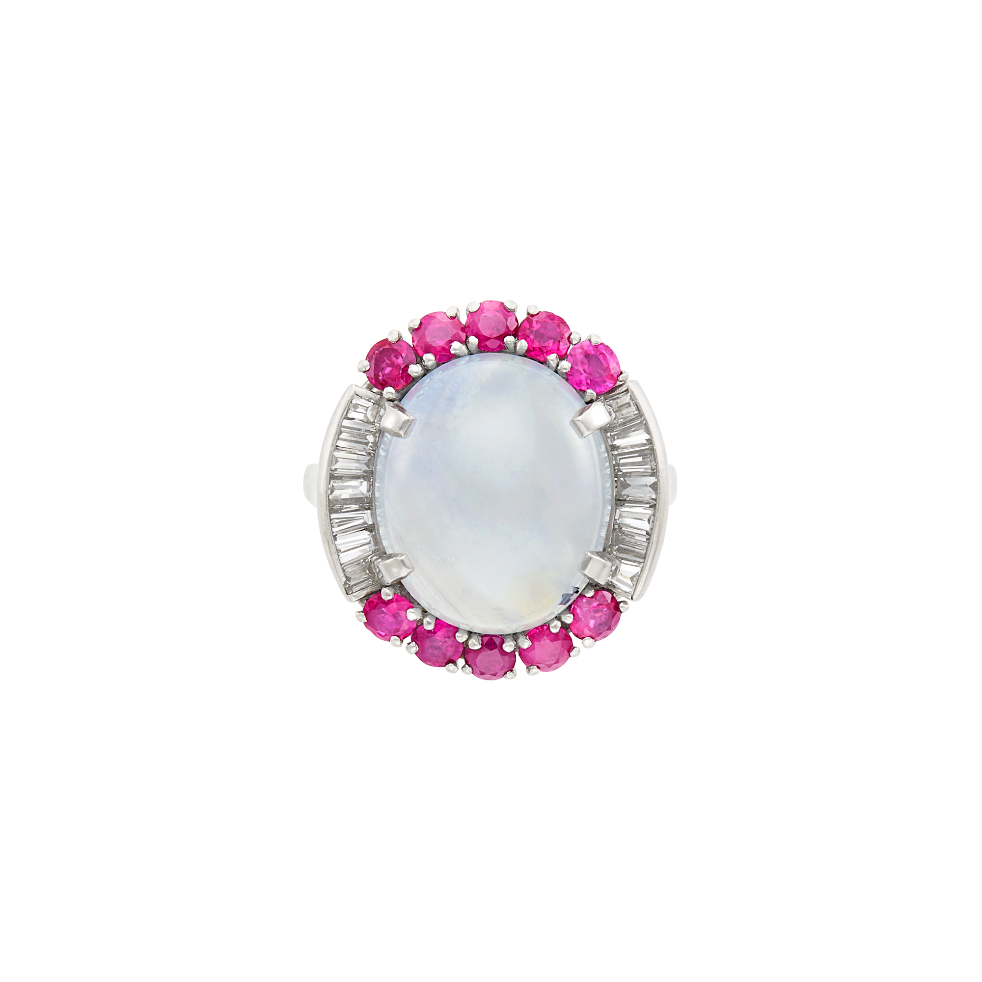 Lot image - Platinum, Gray Star Sapphire, Ruby and Diamond Ring