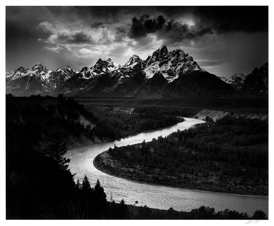 Lot image - ADAMS, ANSEL (1902-1984)  The Tetons and Snake River, Grand Teton National Park, Wyoming, 1942.