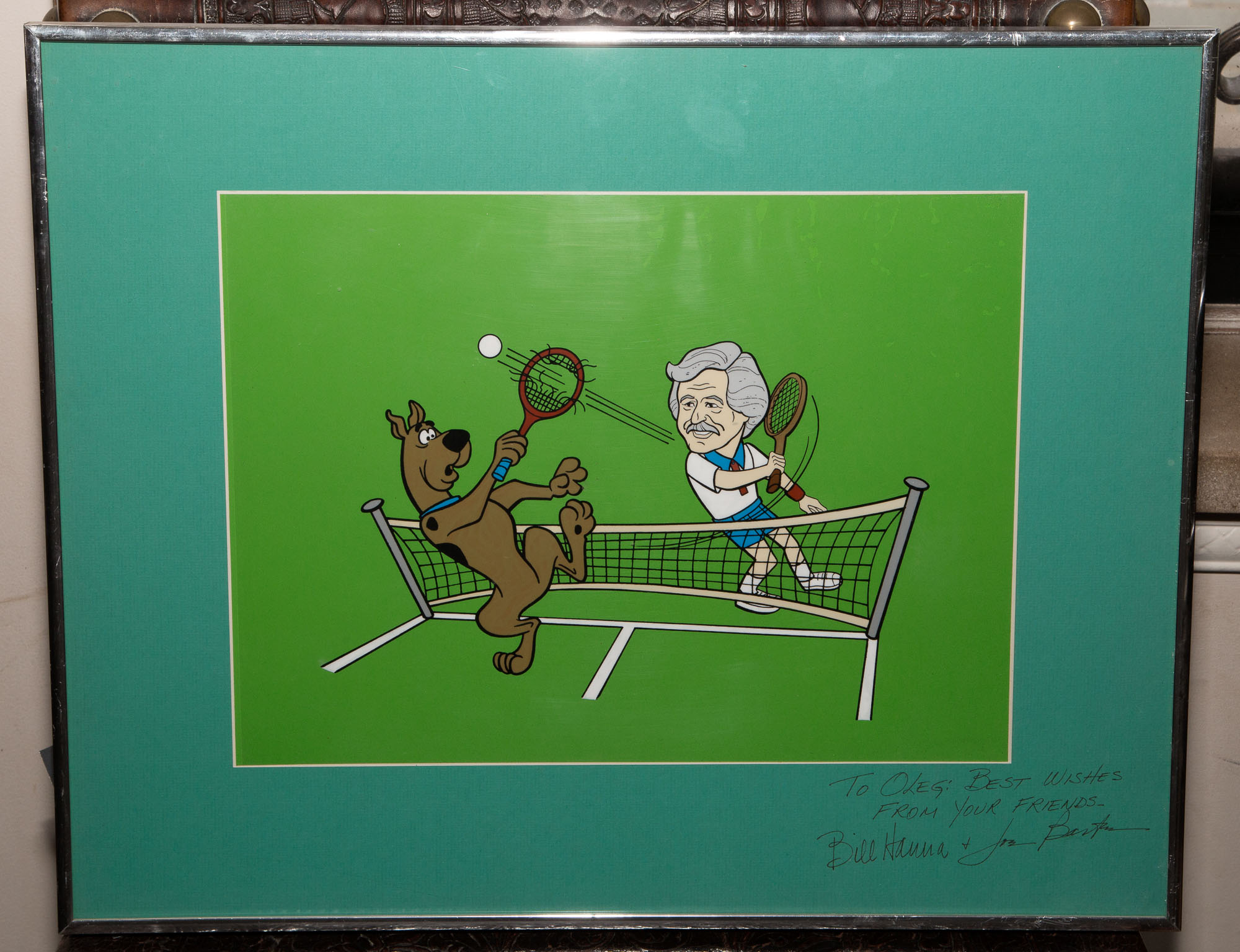 Lot image - [HANNA-BARBERA]  Scooby Doo Playing Tennis with Oleg Cassini.