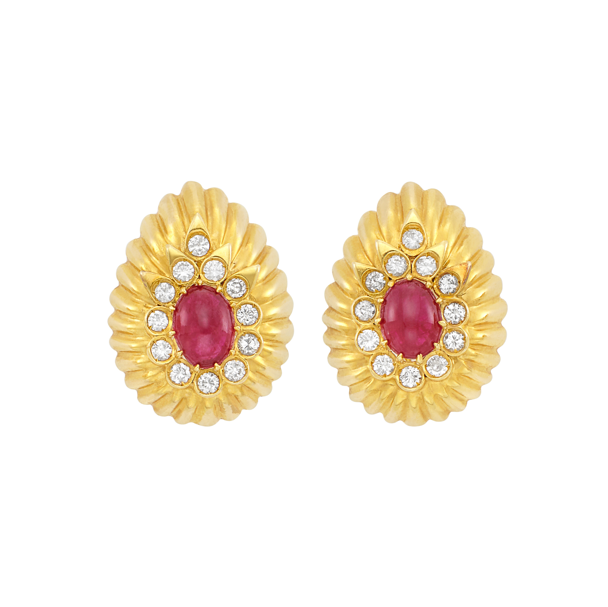 Lot image - Pair of Gold, Cabochon Ruby and Diamond Earrings