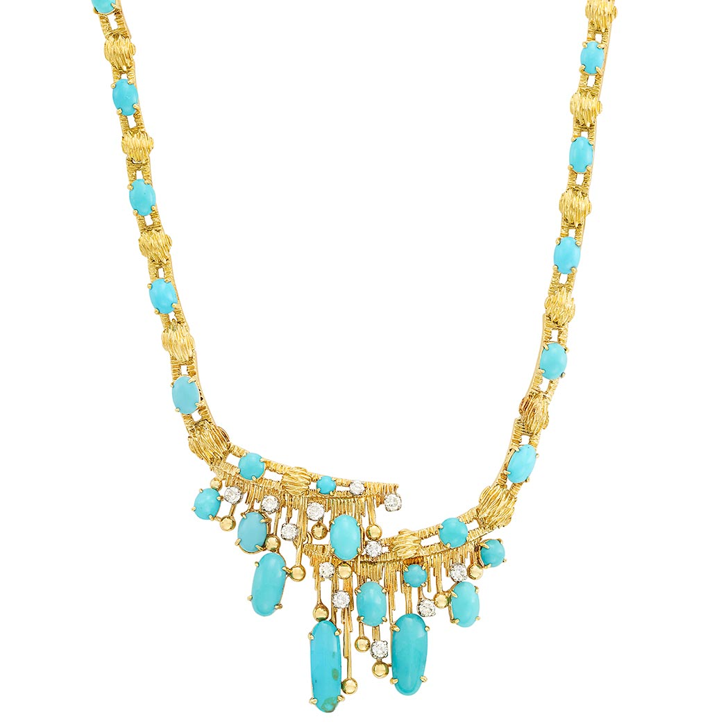 Lot image - Gold, Turquoise and Diamond Necklace, Peter Lindeman