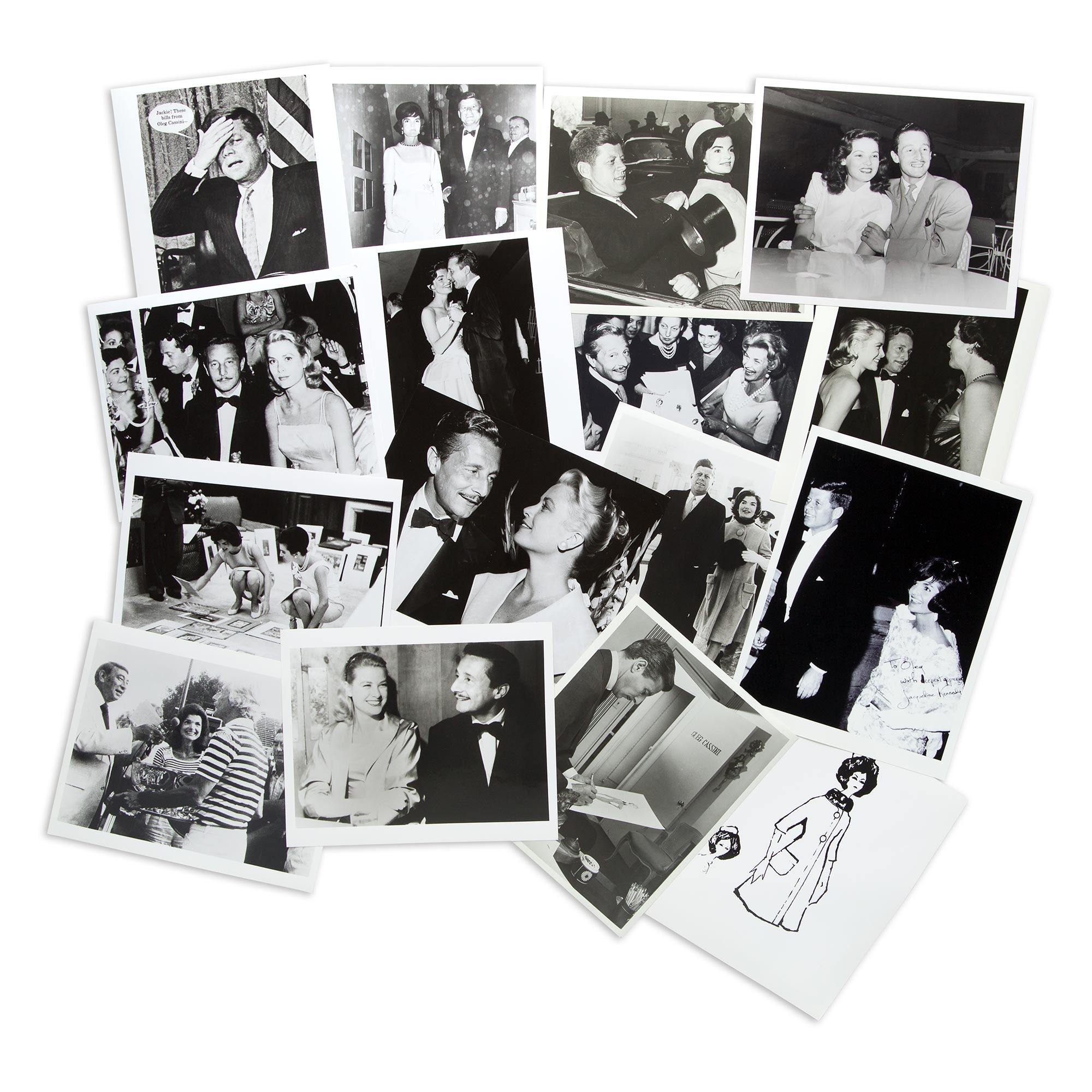 Lot image - [CASSINI-PHOTOGRAPHY ARCHIVE]  Large photography archive documenting Cassinis career with many images of Jacqueline Kennedy, Grace Kelly, and Gene Tierney.