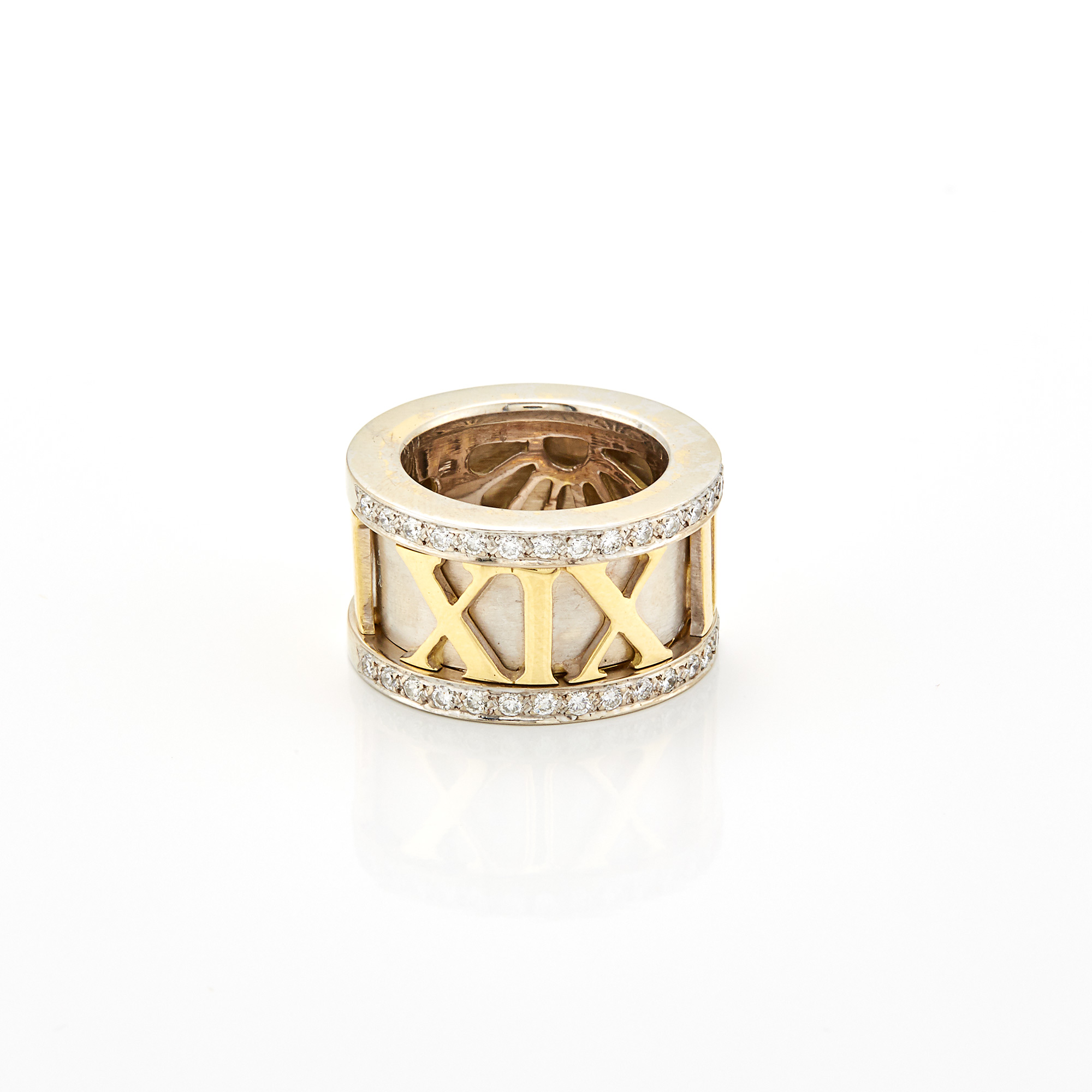 Lot image - Wide Two-Color Gold and Diamond Roman Numeral Band Ring