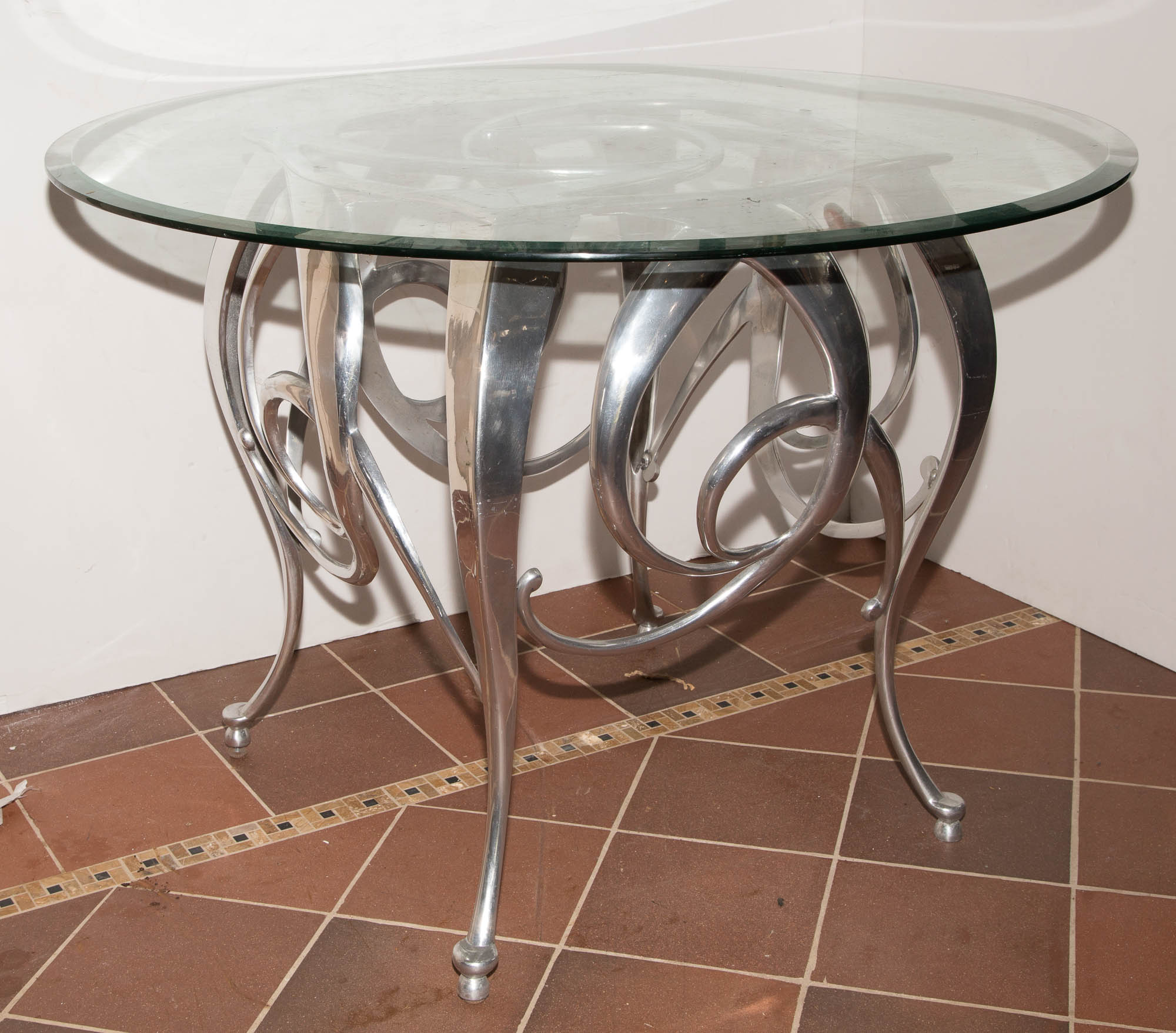 Lot image - Chrome and Glass Table