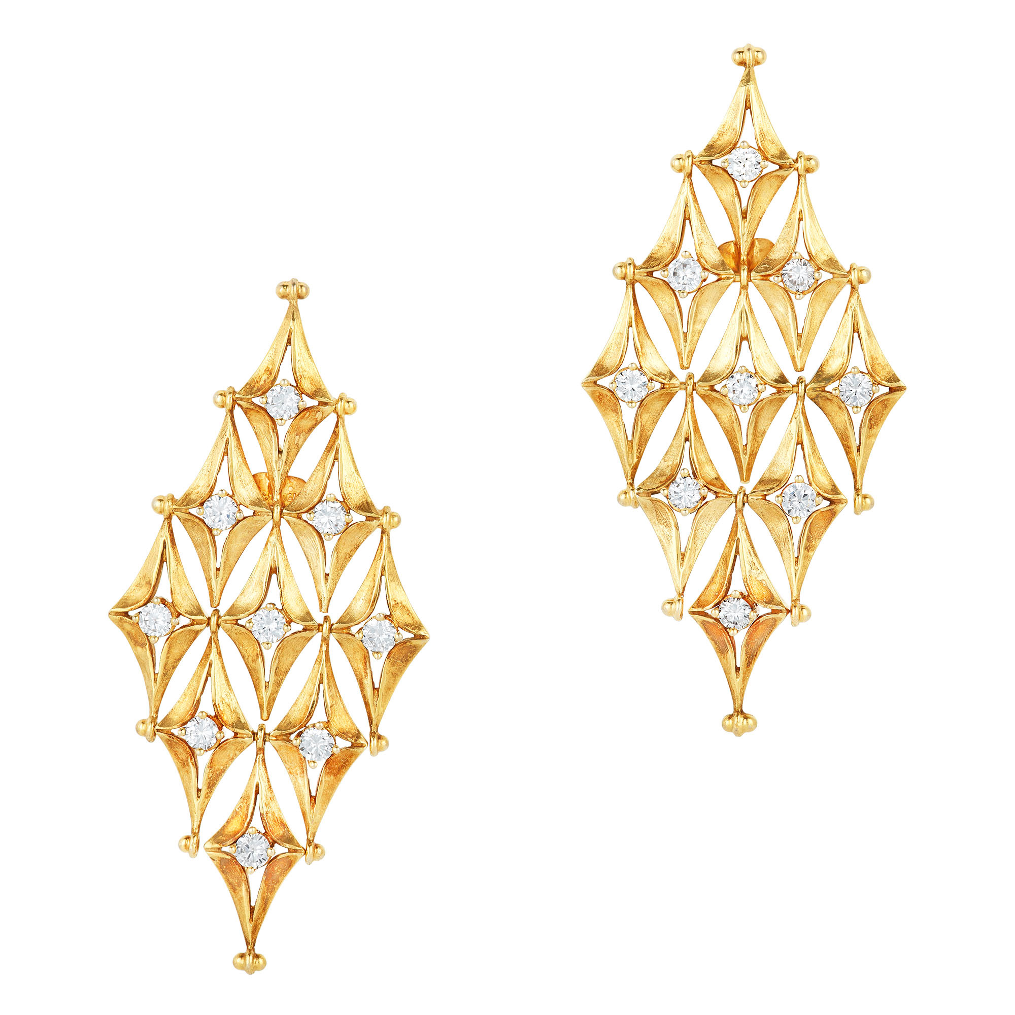 Lot image - Pair of Gold and Diamond Pendant-Earrings