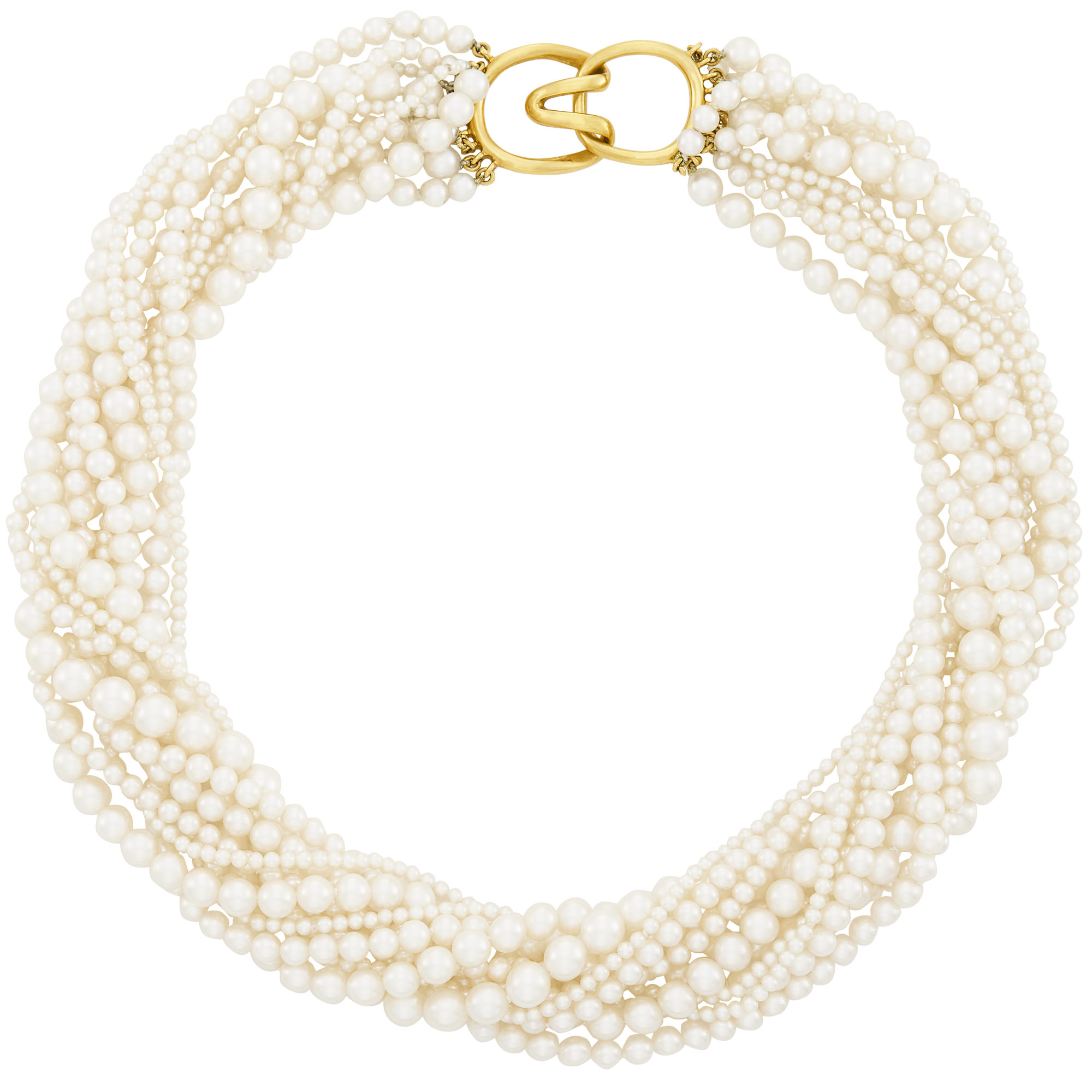 Lot image - Eleven Strand Cultured Pearl Torsade Necklace with Gold Clasp, Tiffany & Co.
