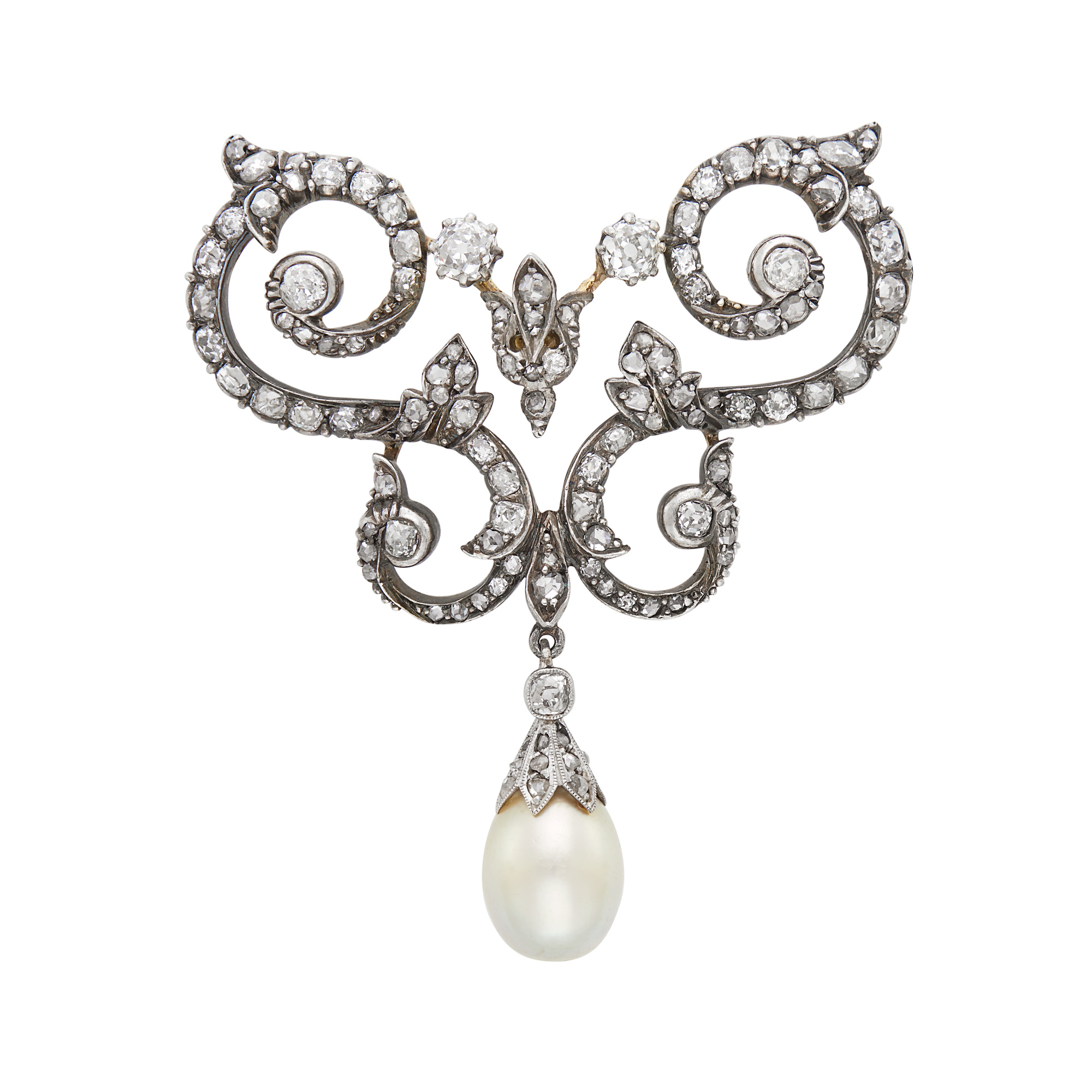 Lot image - Antique Silver, Gold, Diamond and Natural Pearl Brooch