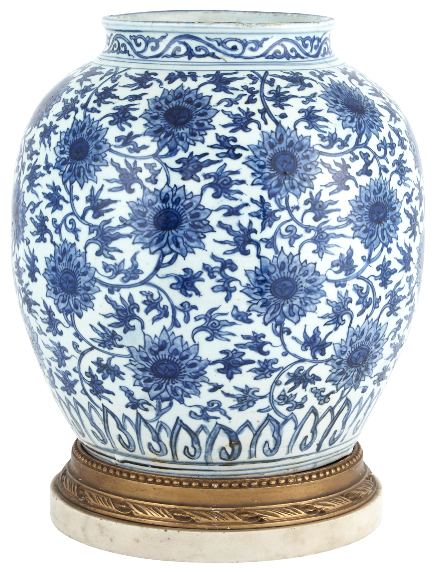 Lot image - Chinese Blue and White Porcelain Lotus Jar