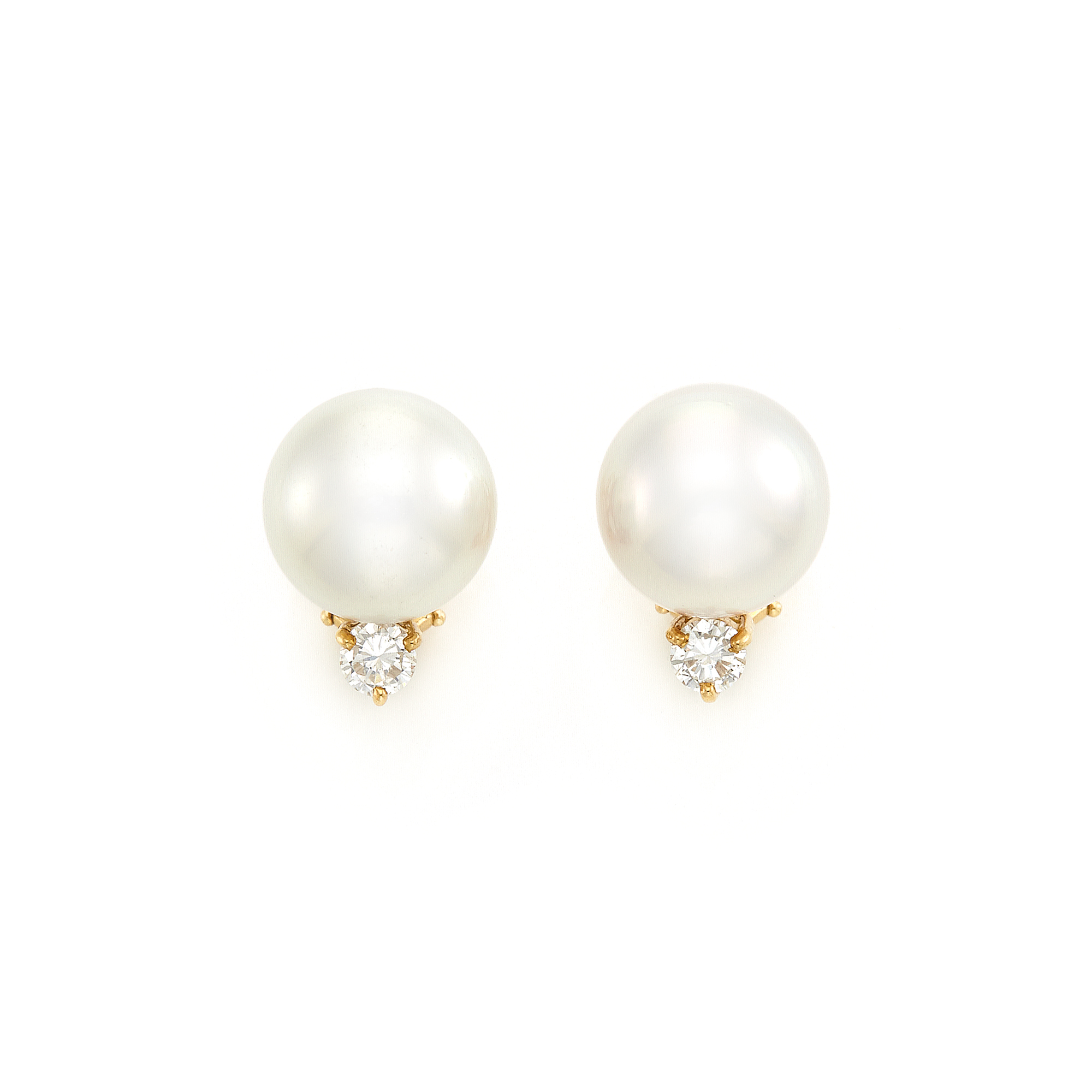 Lot image - Pair of Gold, Pearl and Diamond Earrings