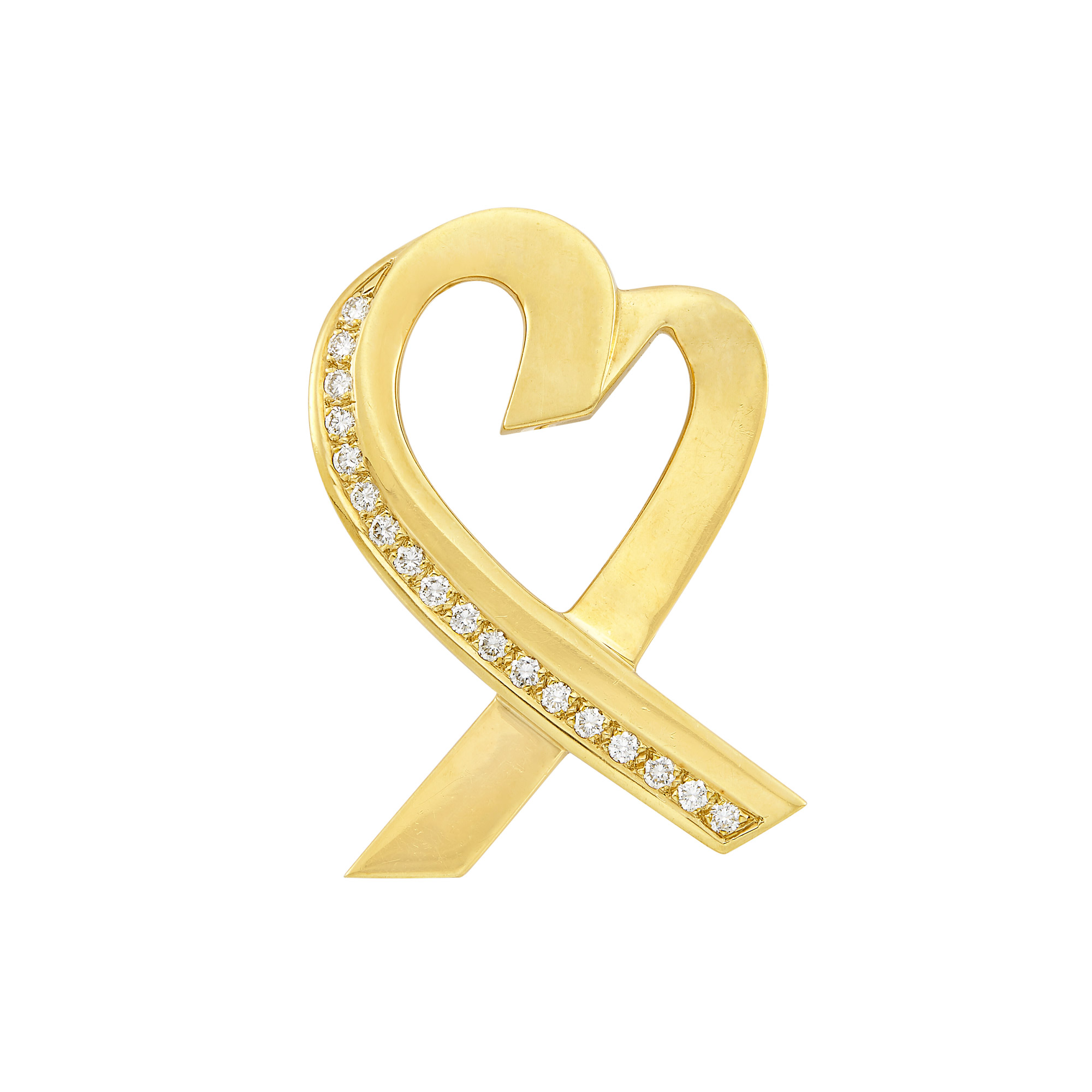Lot image - Gold and Diamond Loving Heart Brooch, Tiffany & Co.