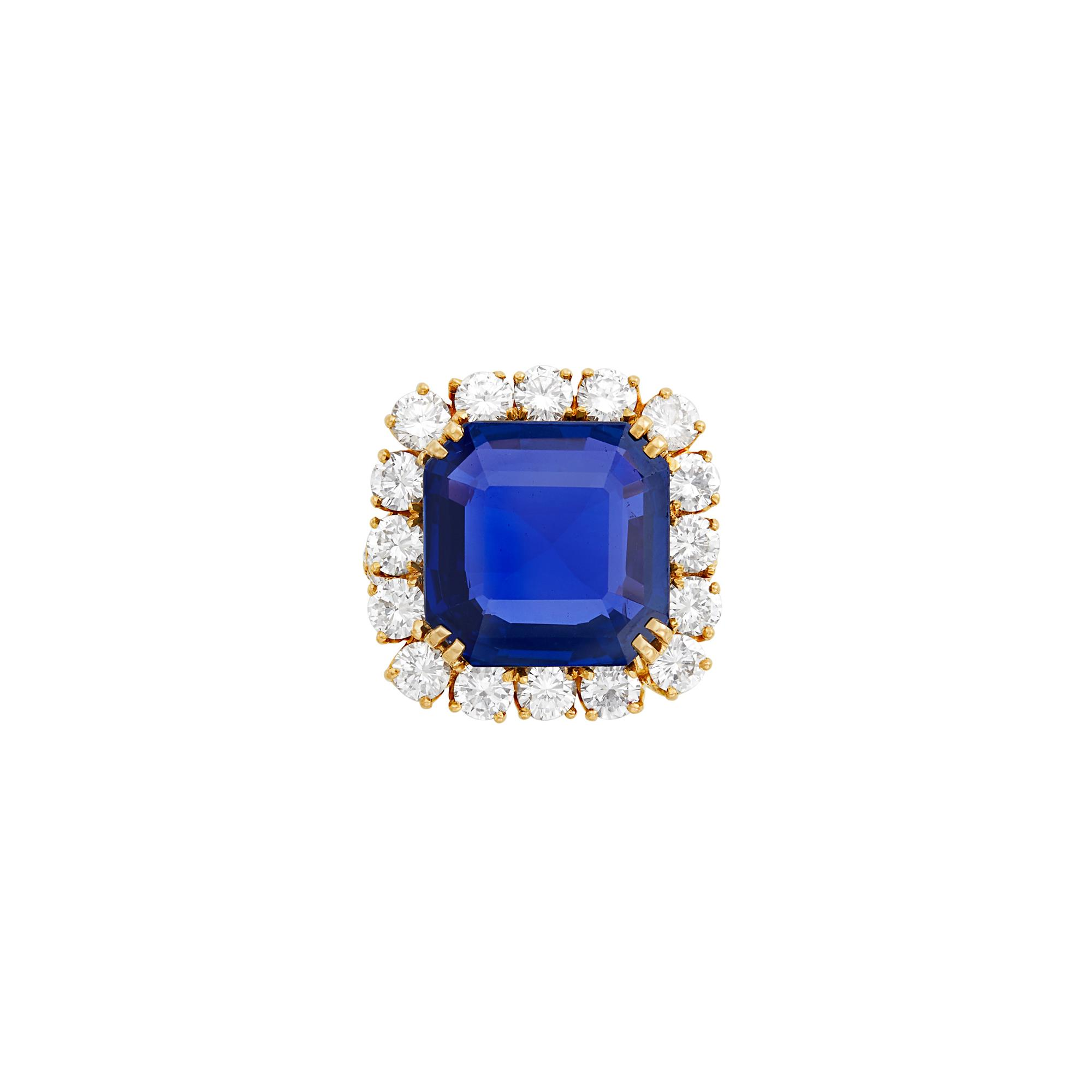 Lot image - Gold, Sapphire and Diamond Ring, Oscar Heyman Brothers
