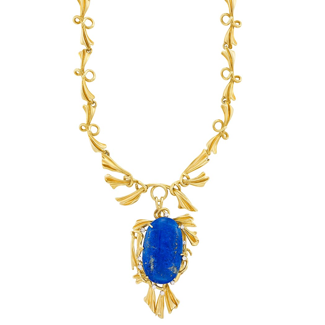 Lot image - Gold, Lapis and Diamond Pendant-Brooch Necklace, Peter Lindeman