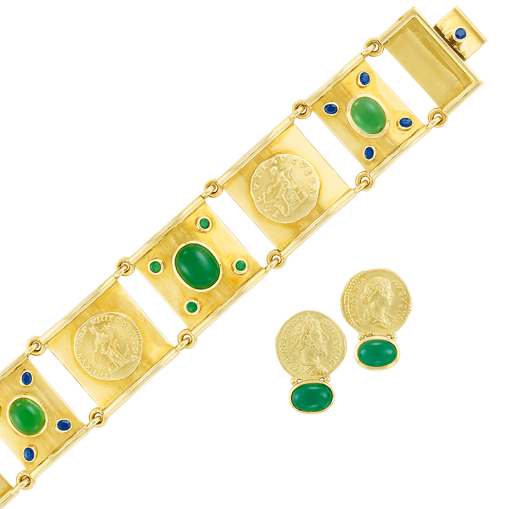Lot image - Gold, Cabochon Tourmaline, Gem-Set and Medallion Bracelet and Pair of Earrings