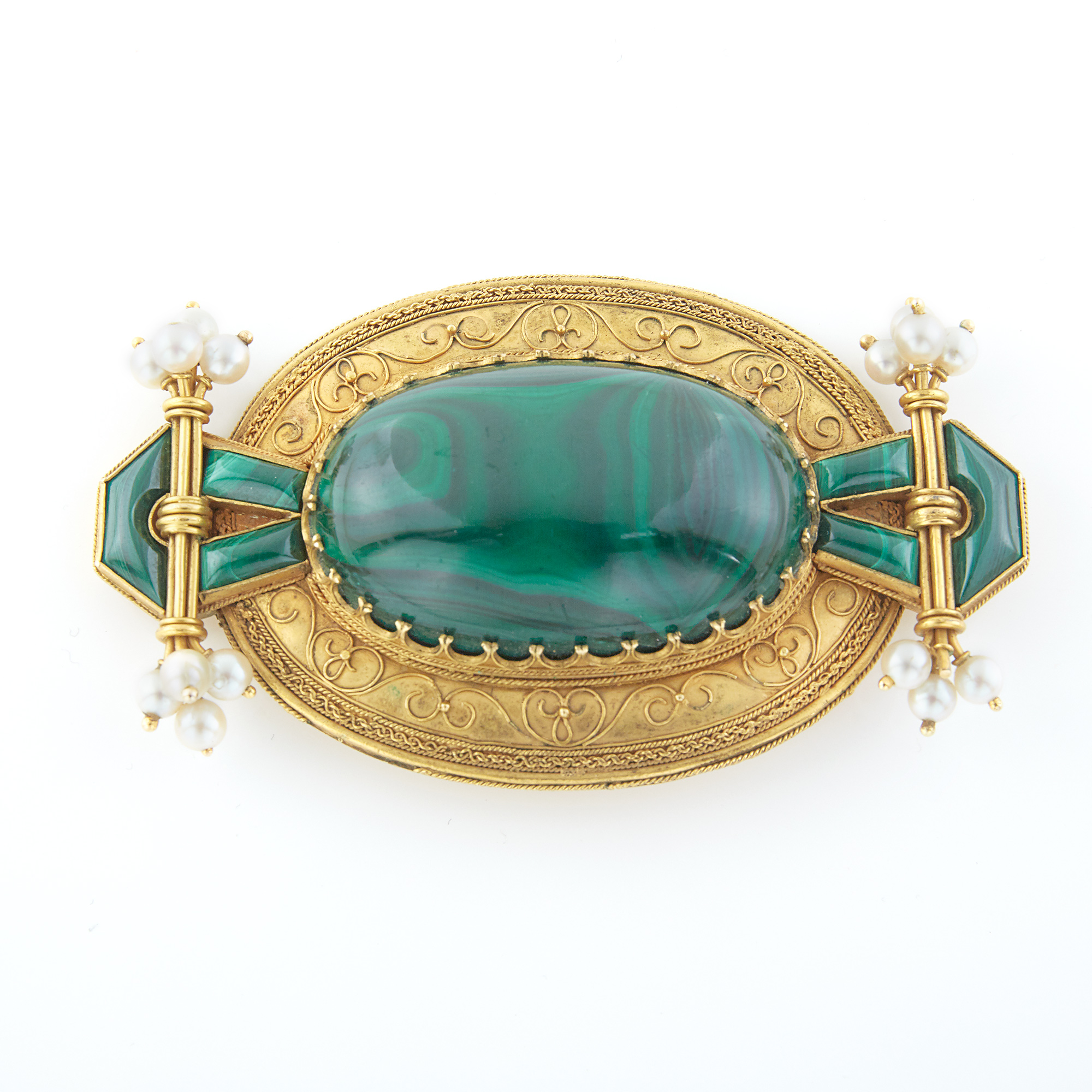 Lot image - Gold, Malachite and Pearl Brooch