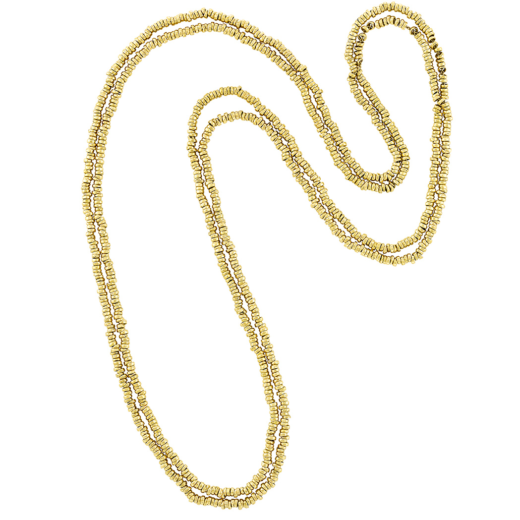 Lot image - Pair of Long Gold Chain Necklaces