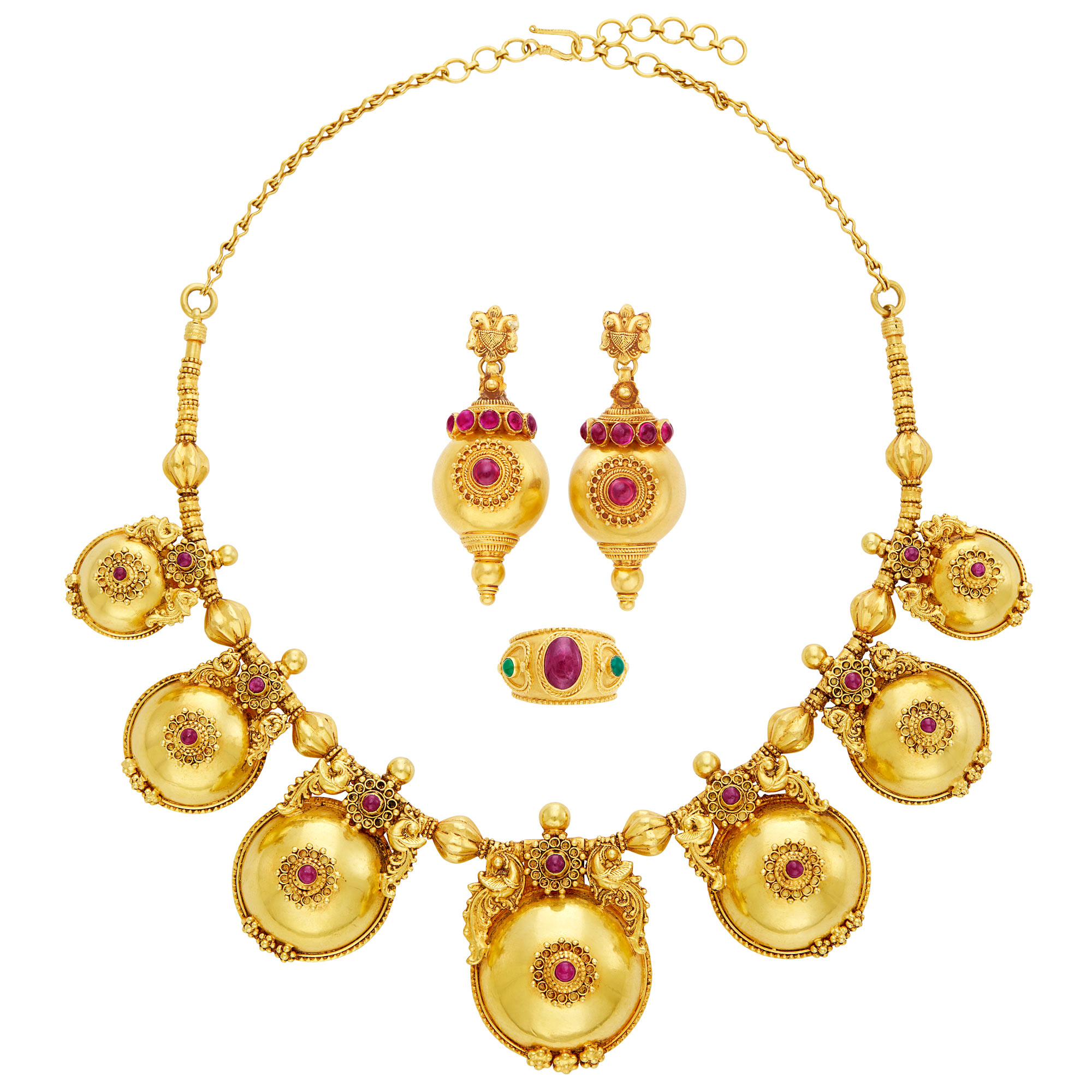 Lot image - Gold and Cabochon Ruby Necklace, Pair of Gold and Simulated Ruby Pendant-Earrings and Cabochon Ruby Ring