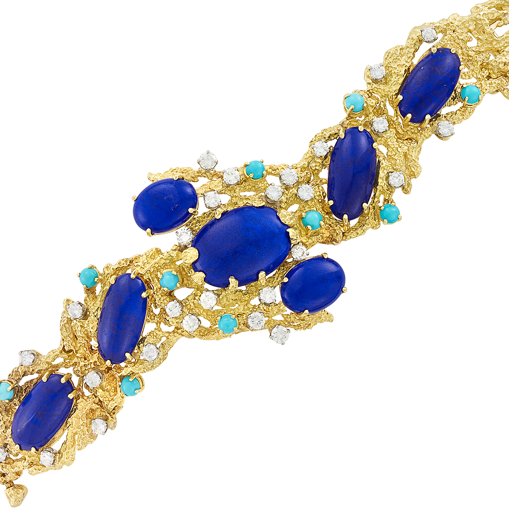 Lot image - Gold, Lapis, Turquoise and Diamond Bracelet, Peter Lindeman
