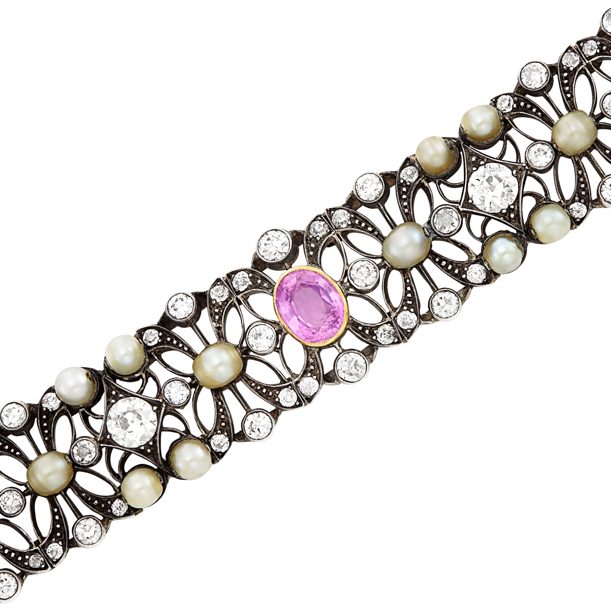 Lot image - Silver, Gold, Pink Sapphire, Button Pearl and Diamond Bracelet