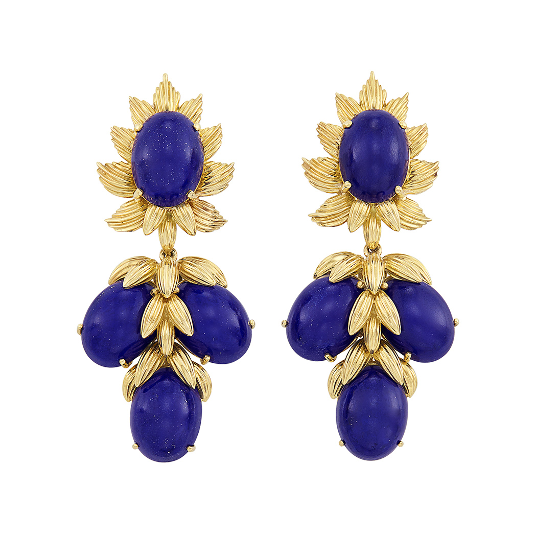 Lot image - Pair of Gold and Lapis Pendant-Earrings