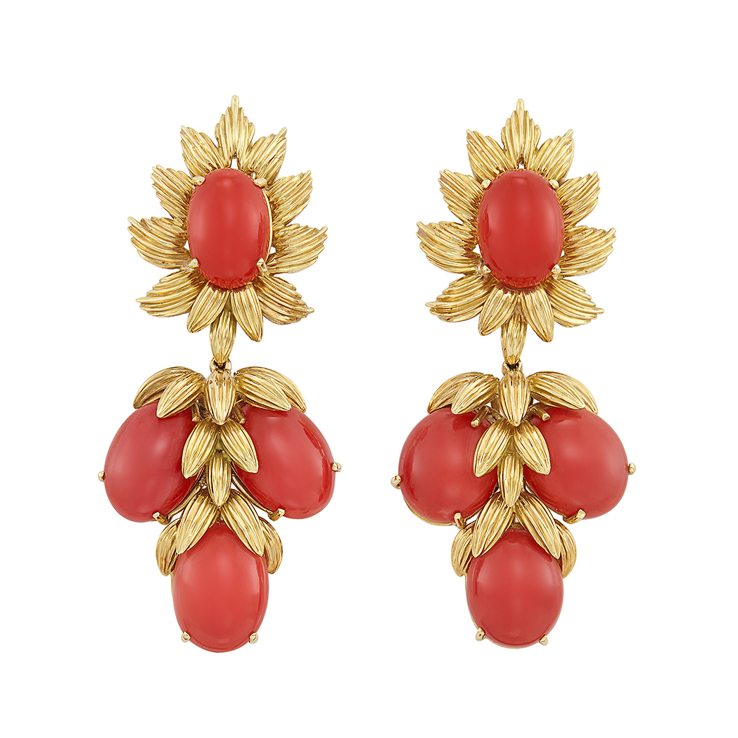 Lot image - Pair of Gold and Oxblood Coral Pendant-Earrings