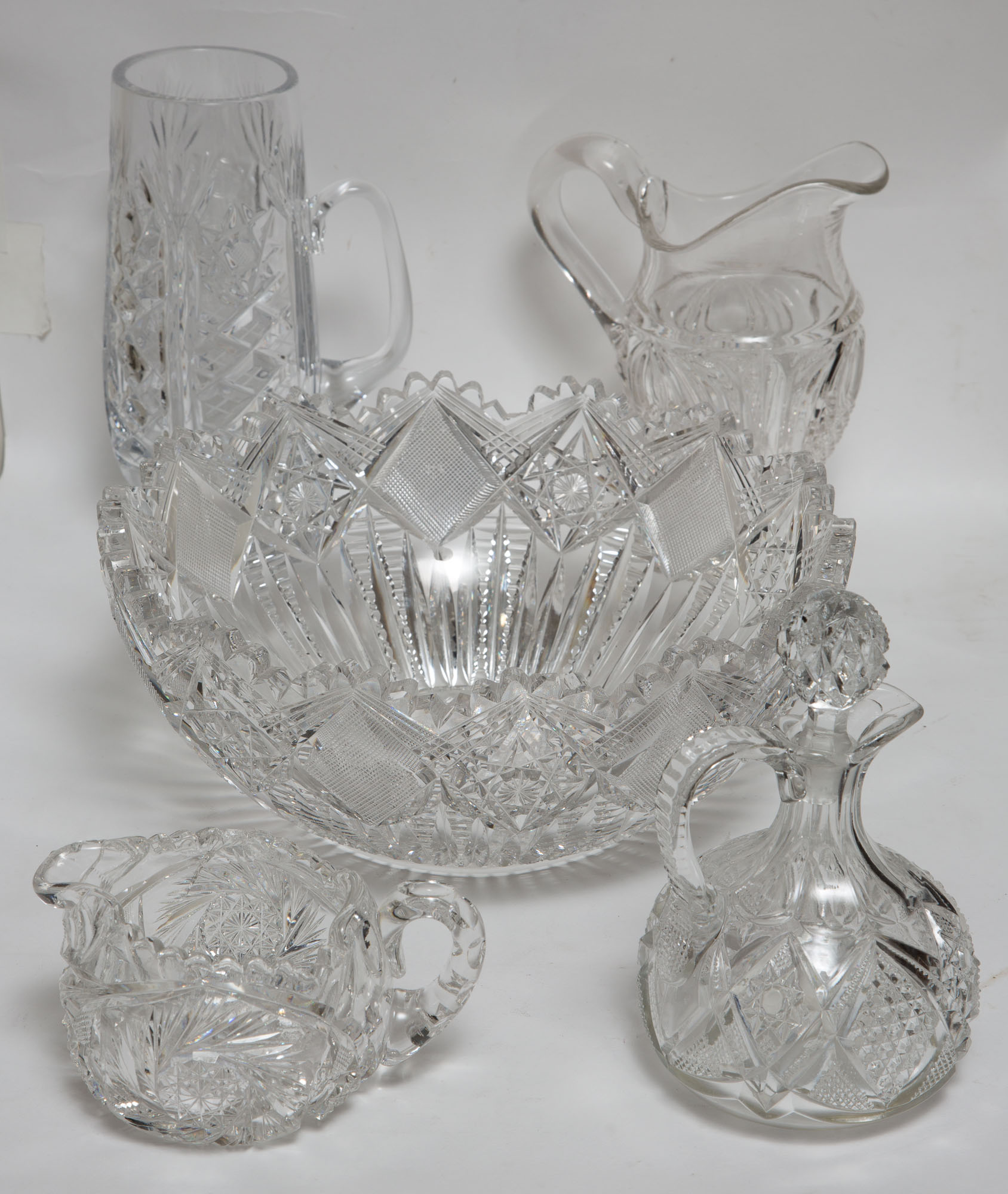 Lot image - Miscellaneous Group of Cut and Pressed Glass Table Articles