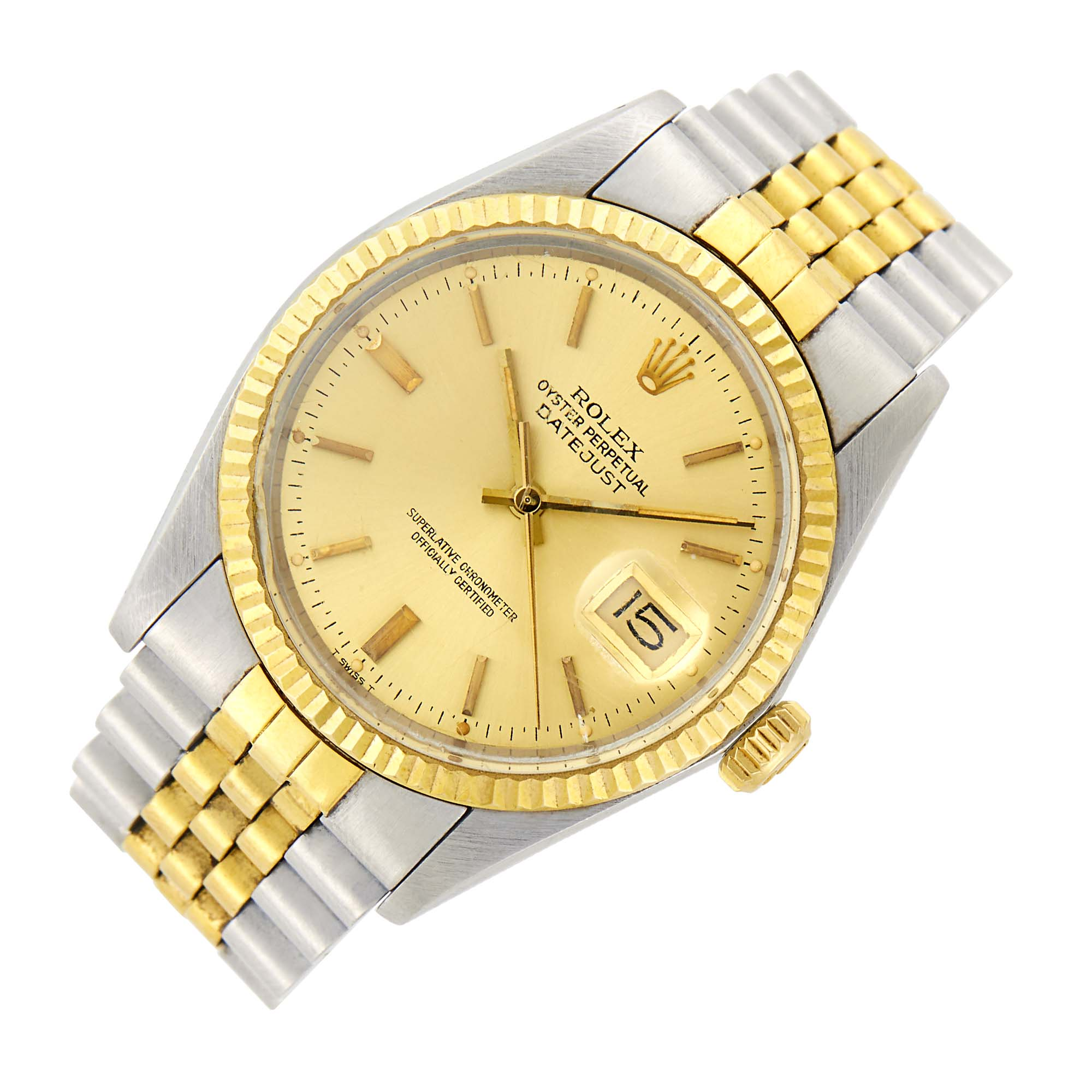 Lot image - Rolex Gentlemans Stainless Steel and Gold Oyster Perpetual Datejust Wristwatch, Ref. 16013