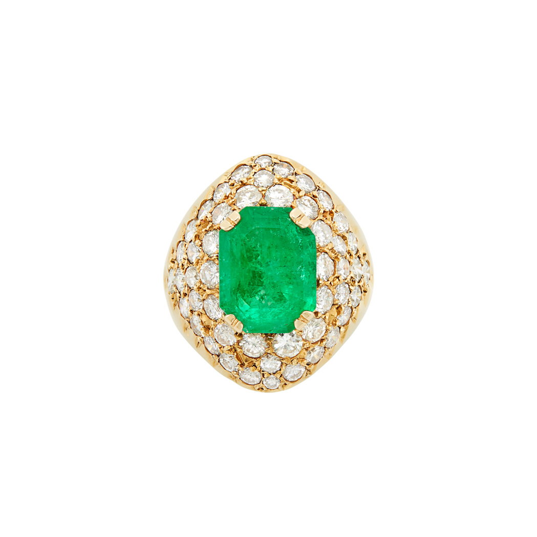 Lot image - Gold, Emerald and Diamond Ring, Benhur