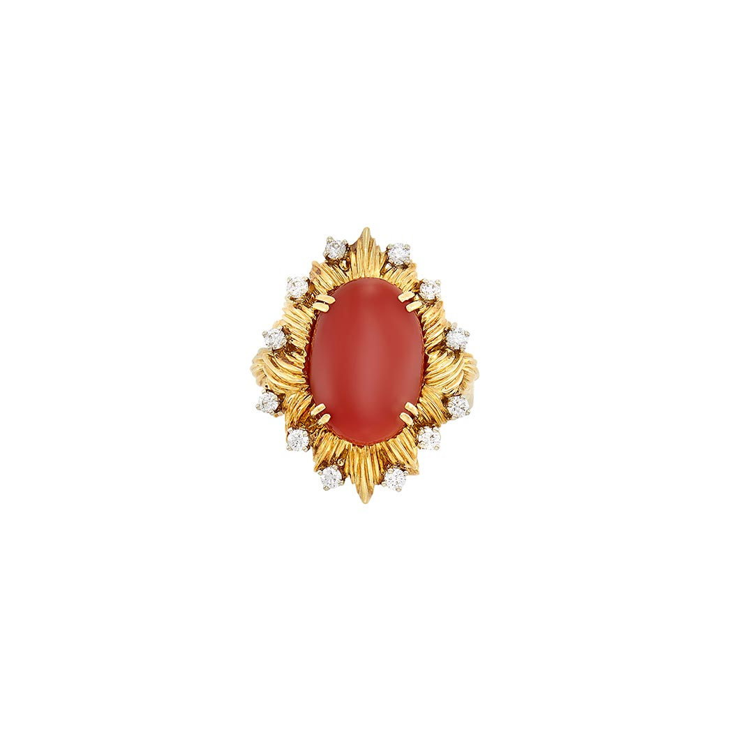 Lot image - Gold, Oxblood Coral and Diamond Ring