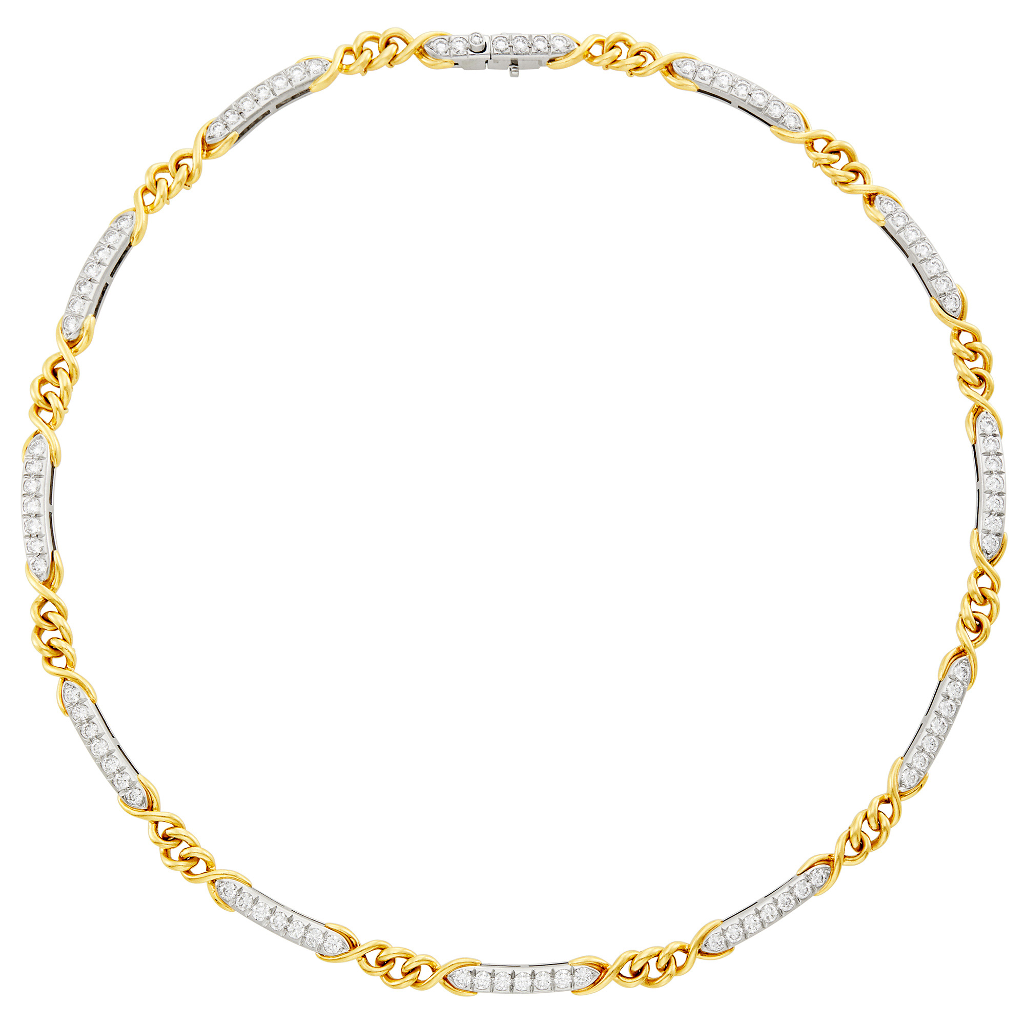 Lot image - Platinum, Gold and Diamond Necklace, Tiffany & Co.