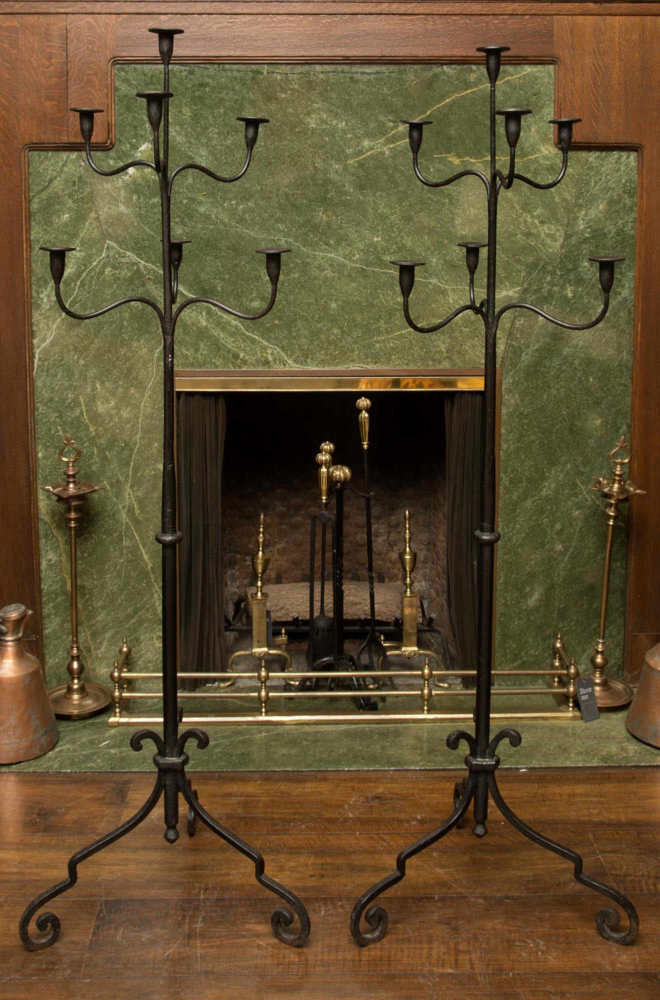 Lot image - Pair of Wrought Iron Standing Seven-Light Candelabra