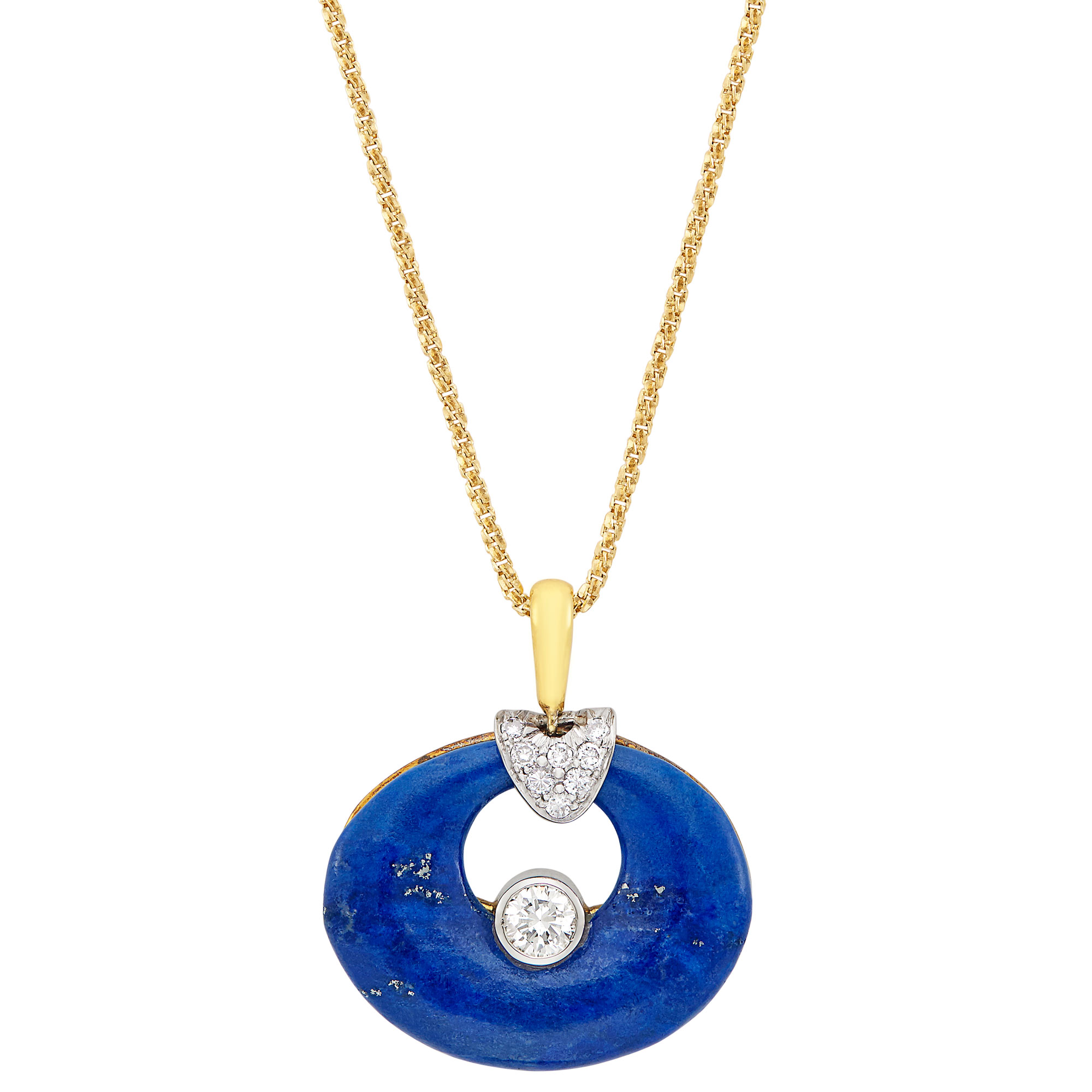 Lot image - Gold, Lapis and Diamond Pendant, by Harry Winston, with Gold Chain