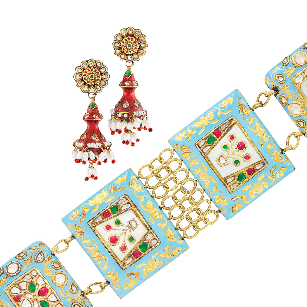Lot image - Wide Indian Gold, Enamel and Foil-Backed White Sapphire and Simulated Stone Bracelet and Pair of Fringe Earrings
