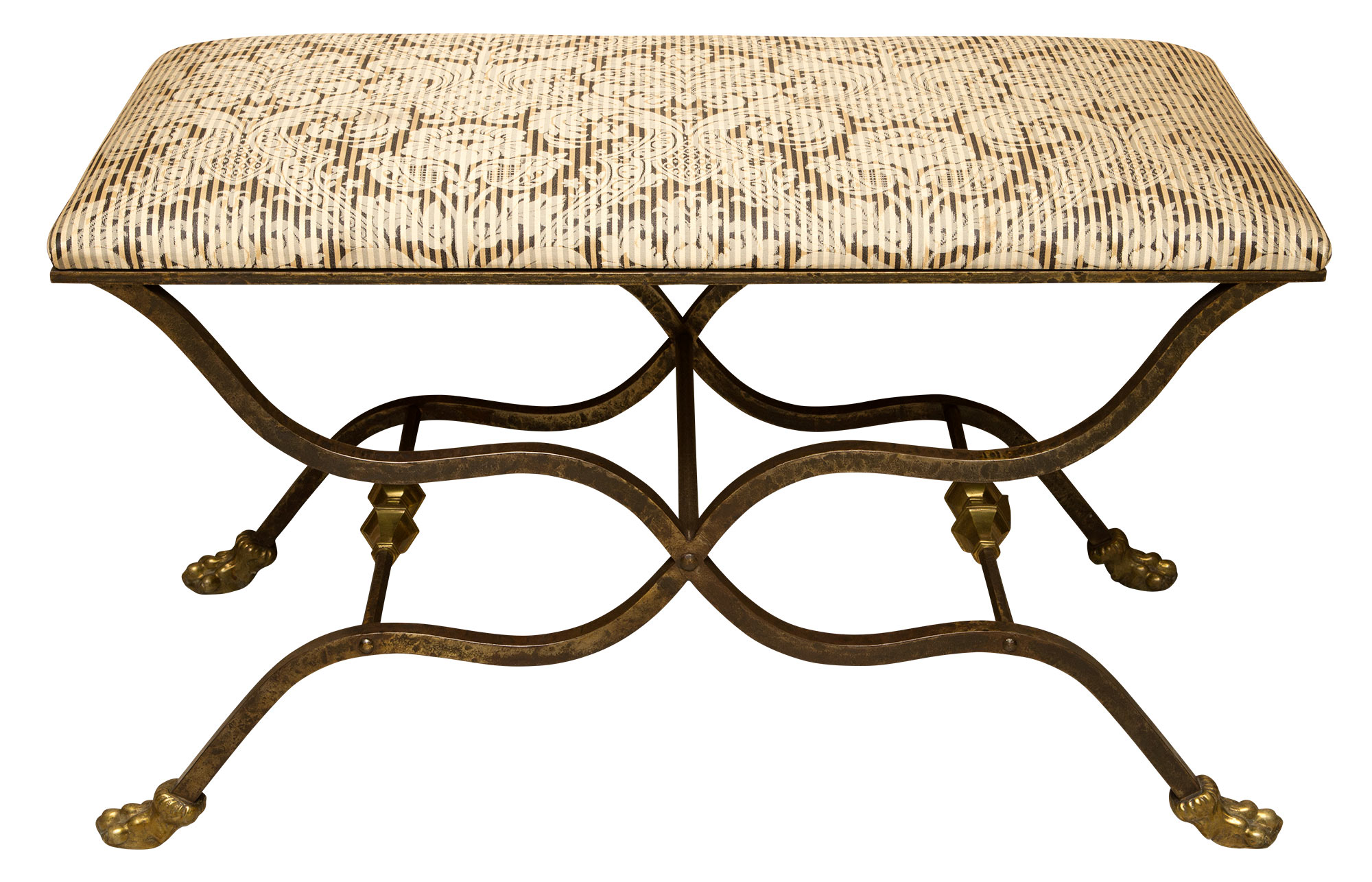 Lot image - Steel and Brass Curule-Form Upholstered Bench