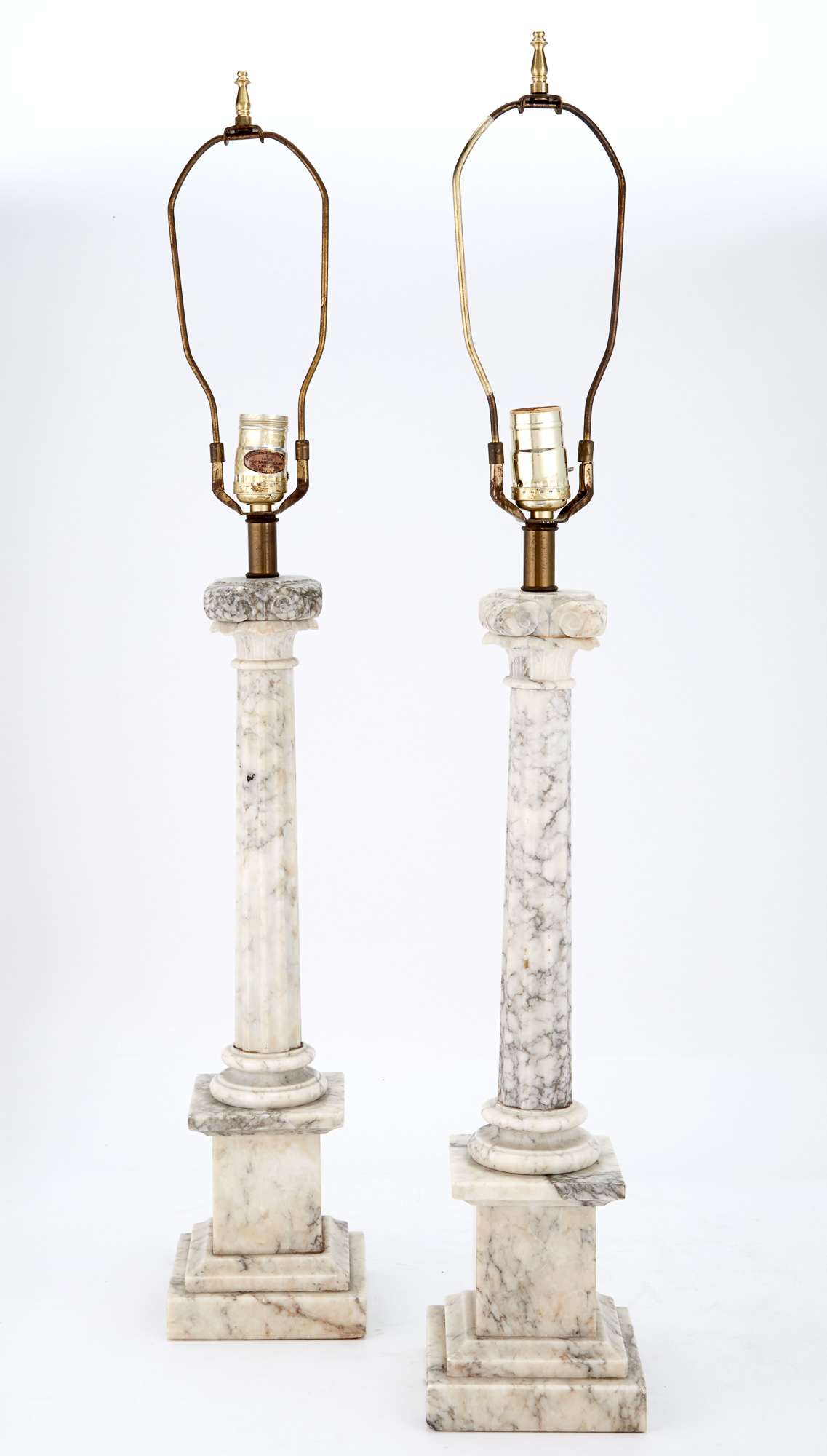 Lot image - Pair of Marble Columnar Lamps