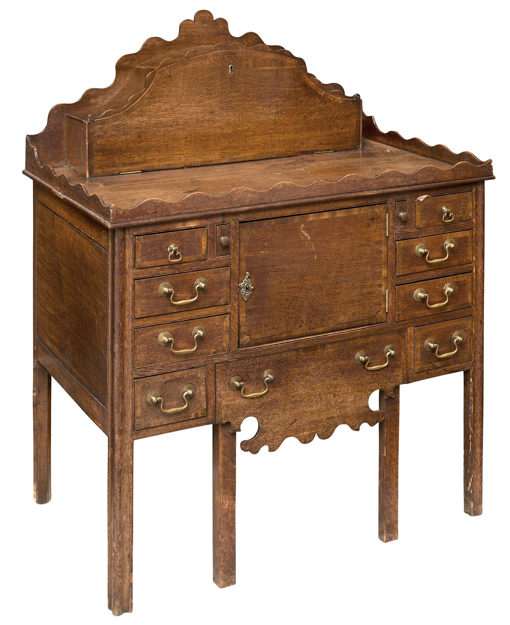 Lot image - George III Inlaid Oak Dressing- and Night-Table
