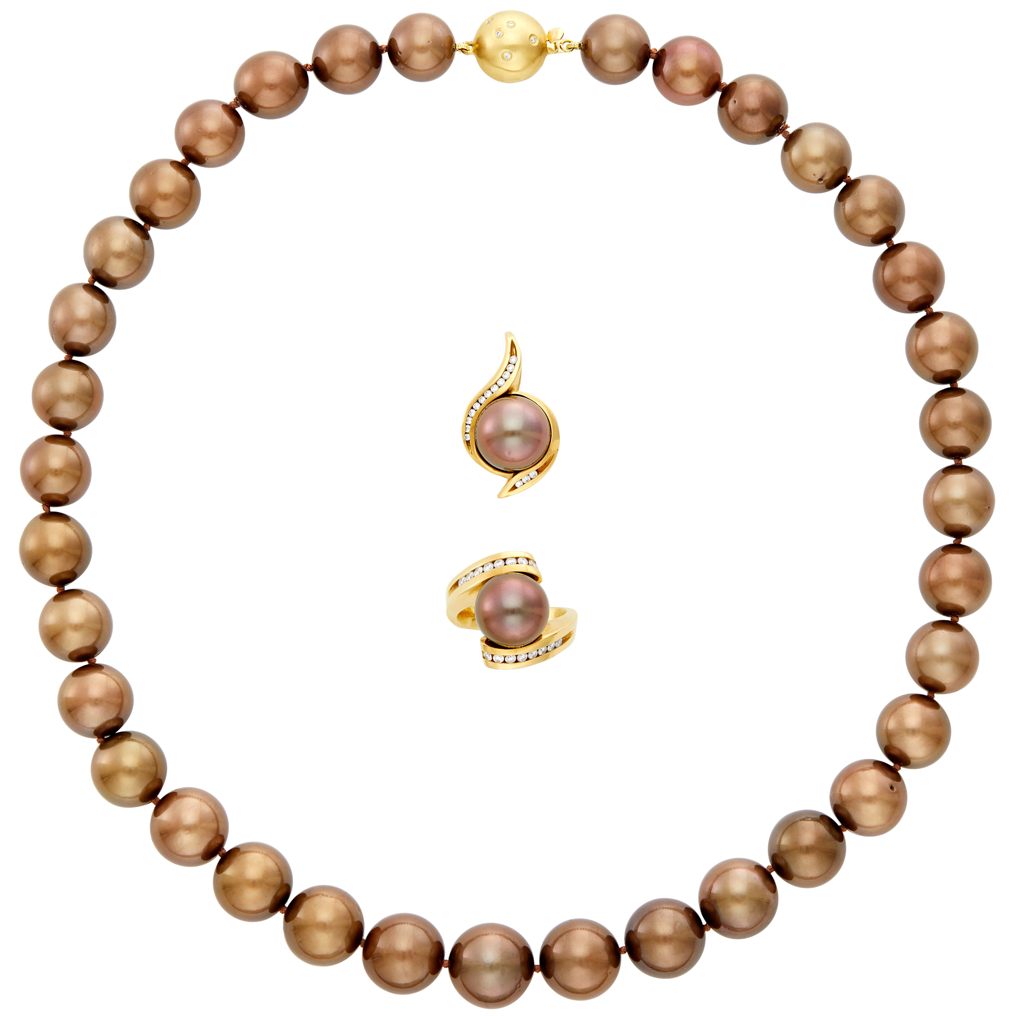 Lot image - Dyed Brown Cultured Pearl Necklace, Ring and Pendant