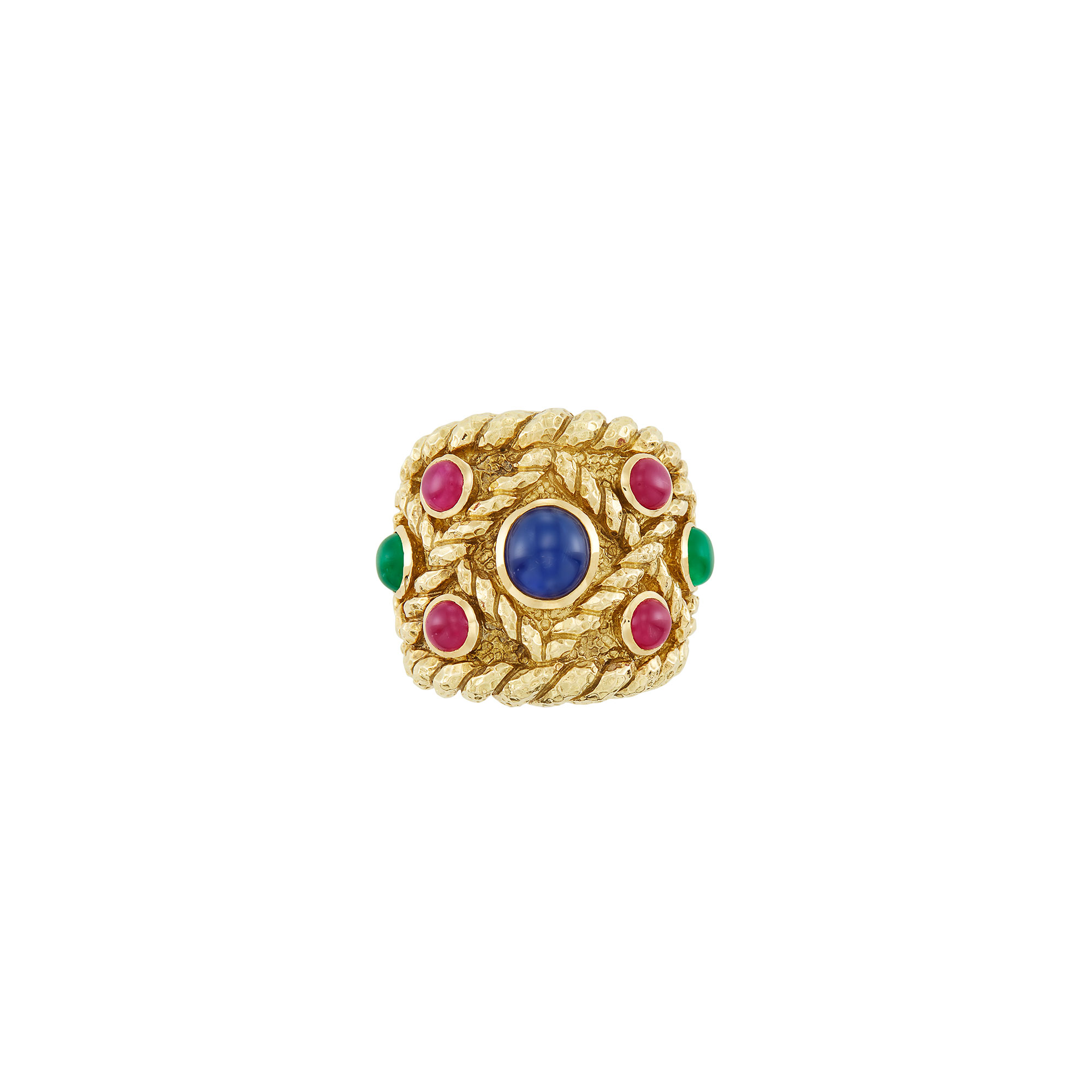 Lot image - Wide Gold and Cabochon Gem-Set Ring, David Webb