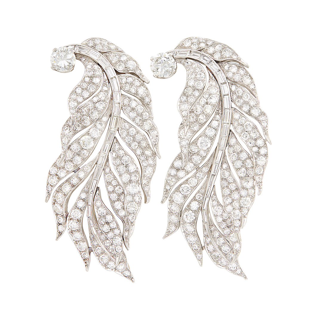 Lot image - Pair of Platinum and Diamond Feather Clips, Paul Flato