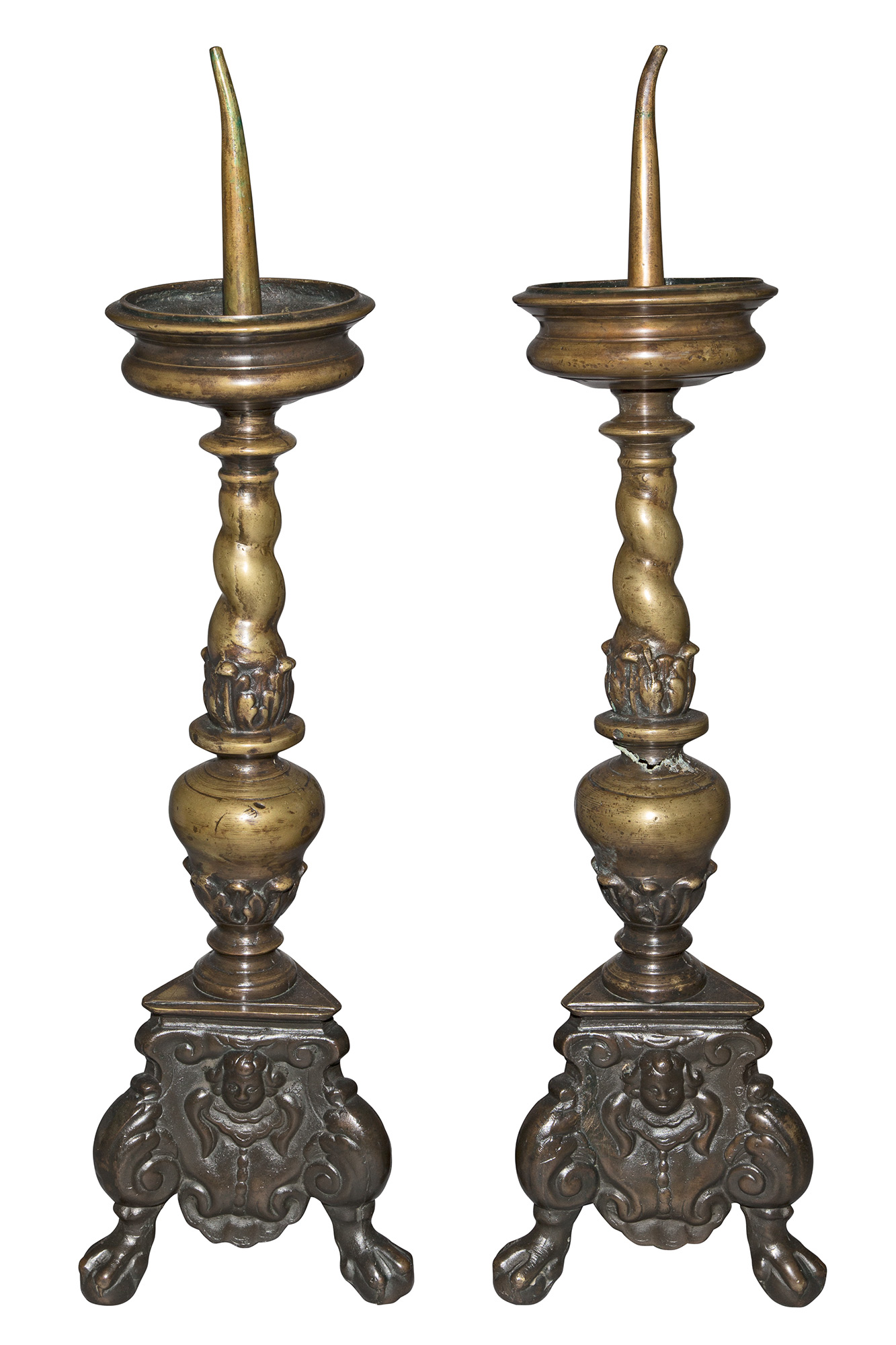 Lot image - Pair of Italian Baroque Style Bronze Pricket Sticks