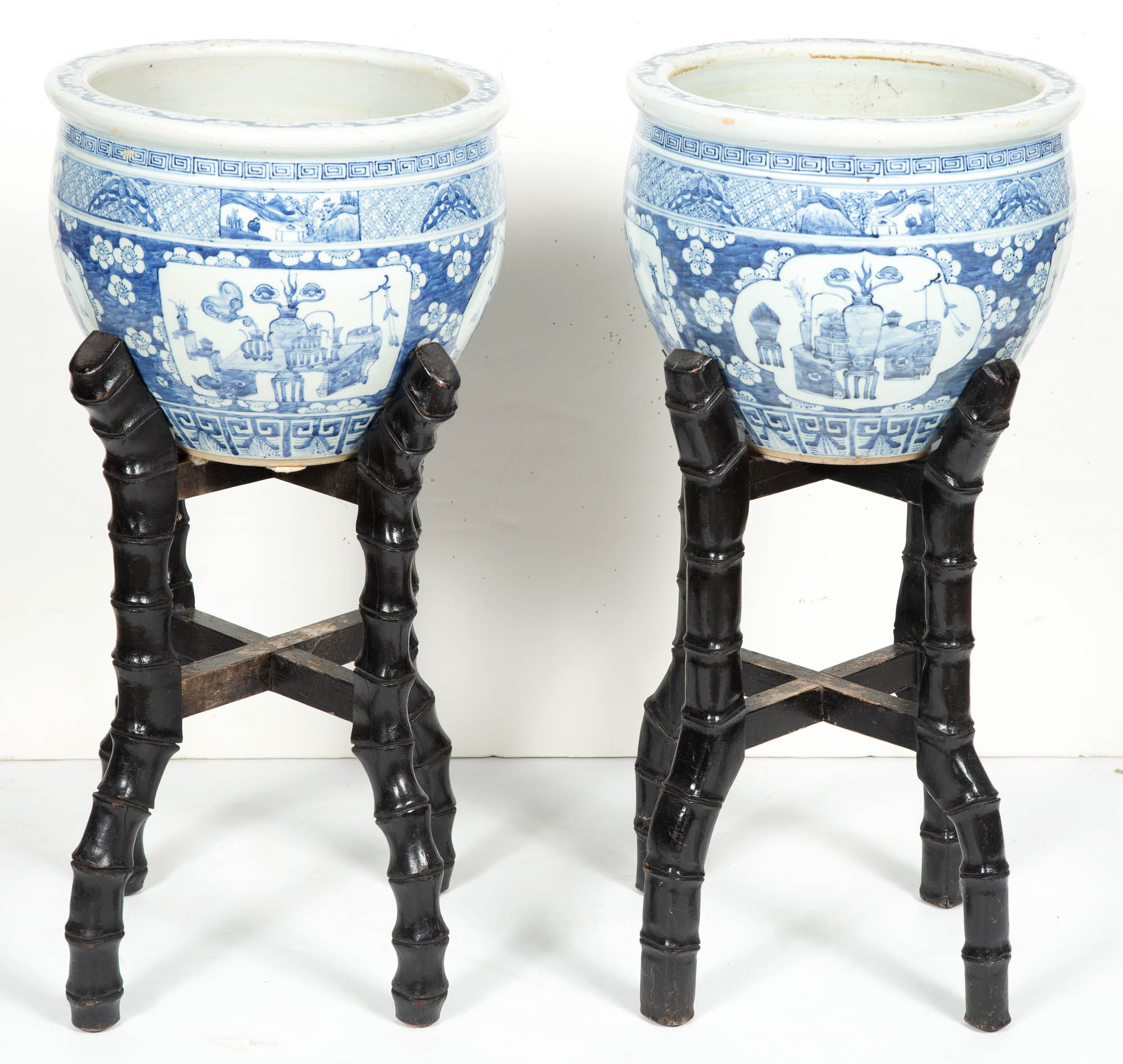 Lot image - Pair of Chinese Export Blue and White Porcelain Jardinières on Stands