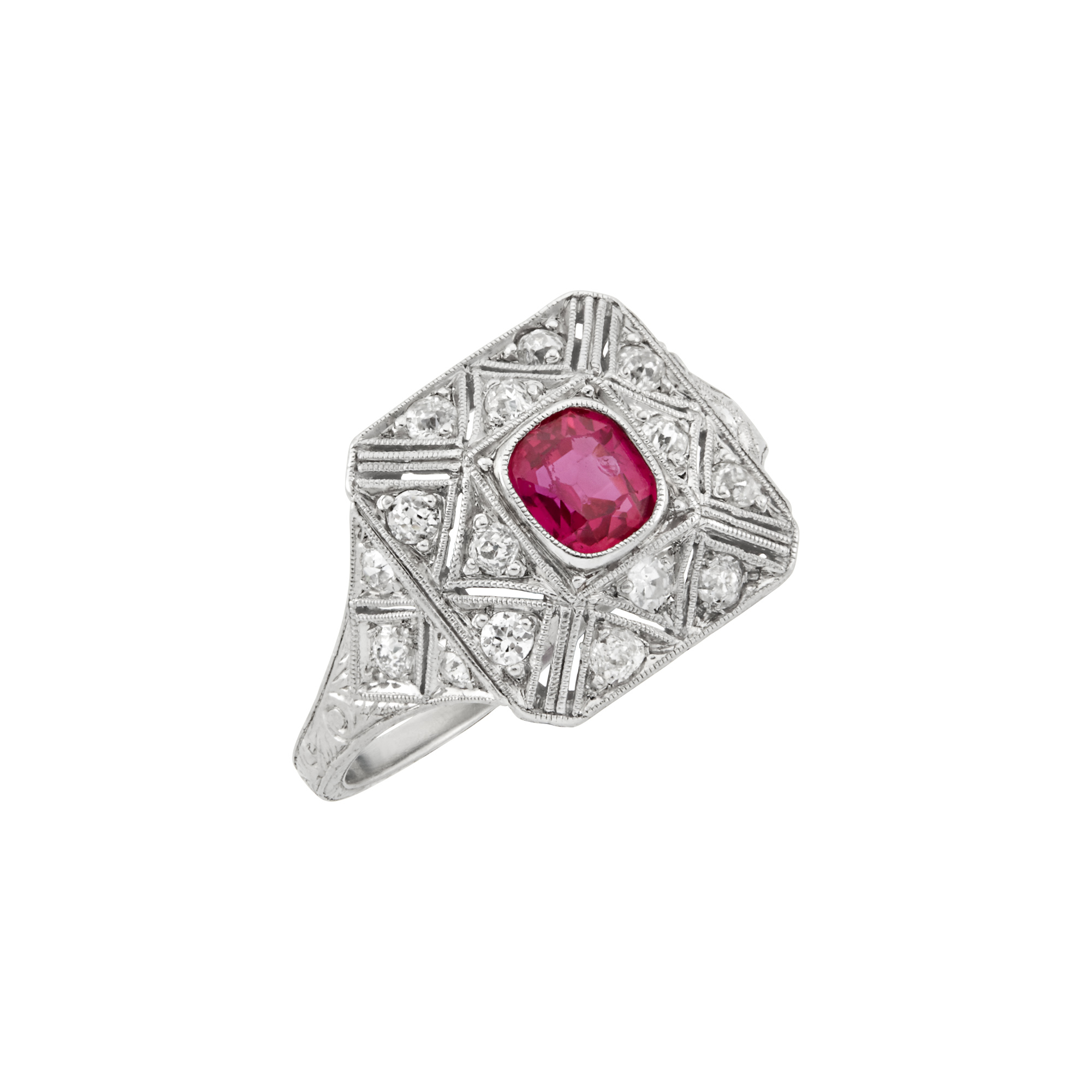 Lot image - Art Deco Platinum, Ruby and Diamond Ring