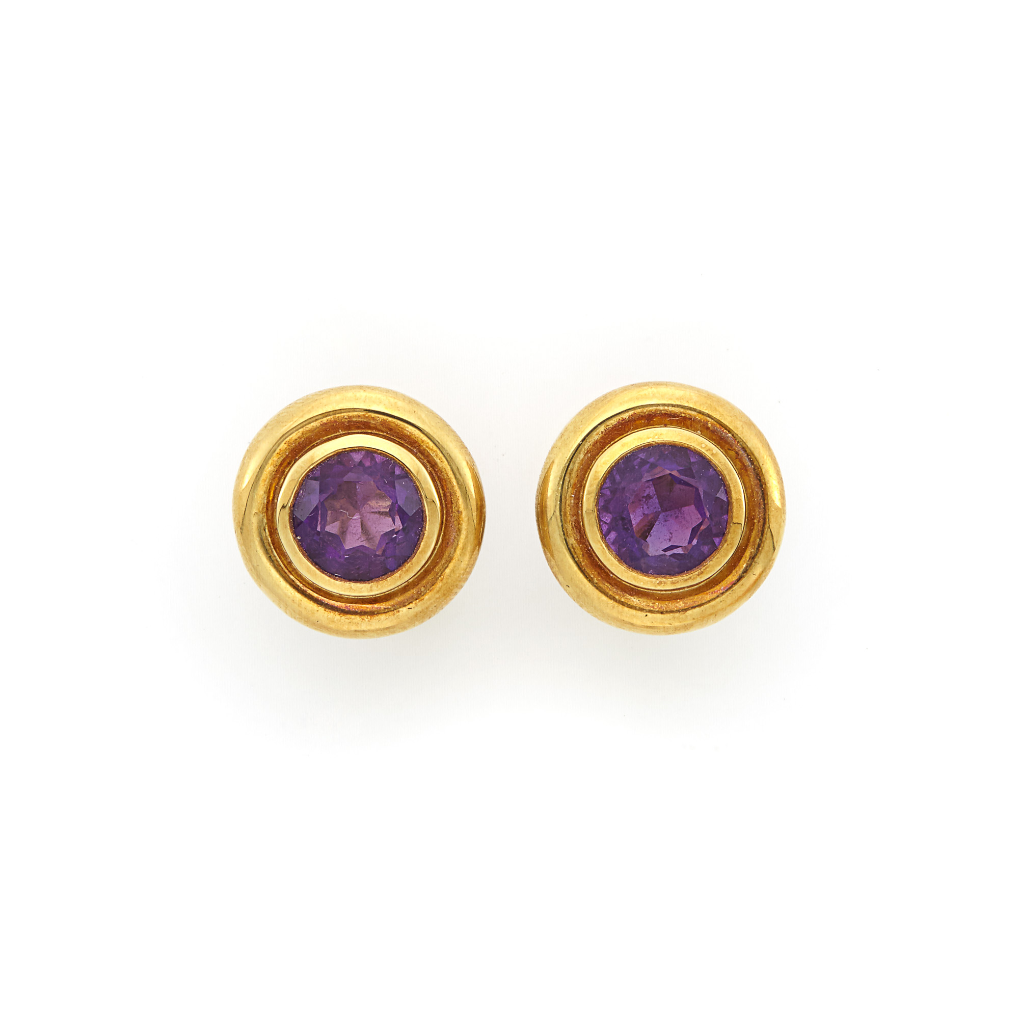 Lot image - Pair of Gold and Amethyst Earrings, Tiffany & Co., Paloma Picasso