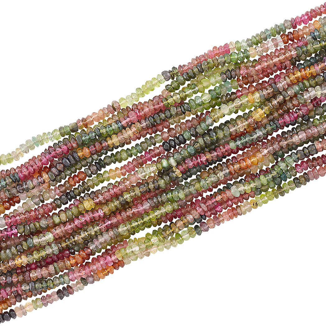 Lot image - Multistrand Multicolored Tourmaline Bead and Gold Bracelet, Verdura