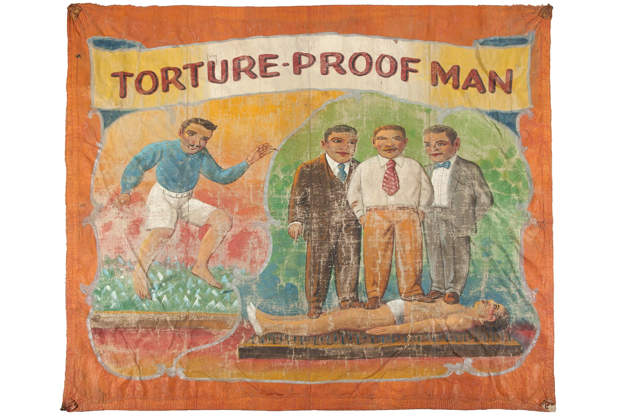 Lot image - Torture-Proof Man Sideshow Banner, Attributed to Nieman Eisman