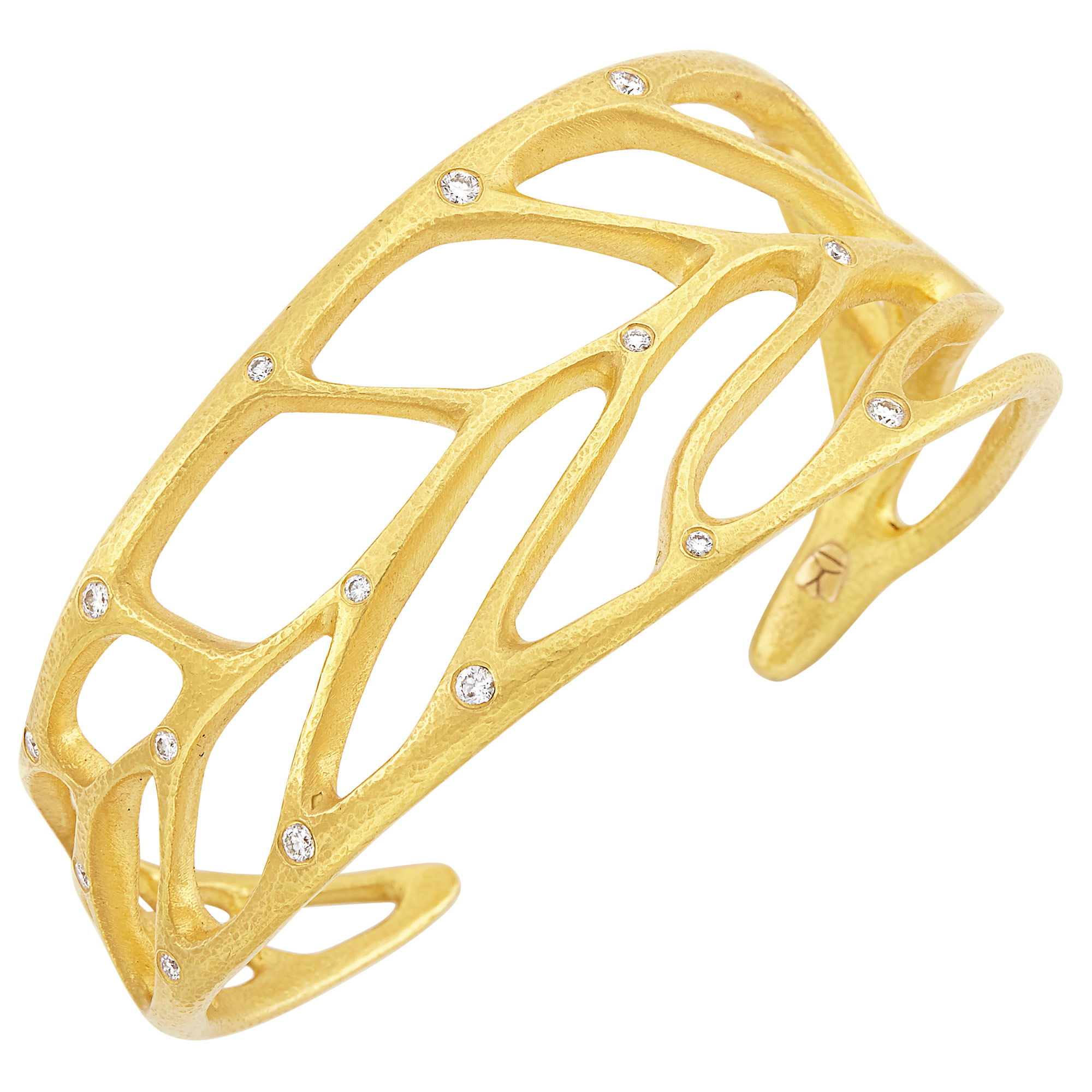 Lot image - High Karat Gold and Diamond Leaf Cuff Bracelet, Linda Lee Johnson