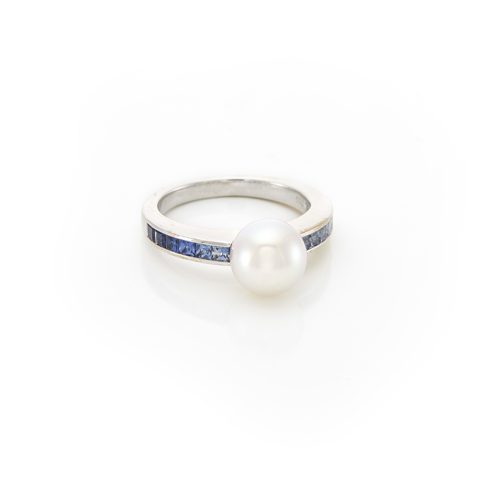 Lot image - White Gold, Cultured Pearl and Sapphire Ocean Ring, Mikimoto