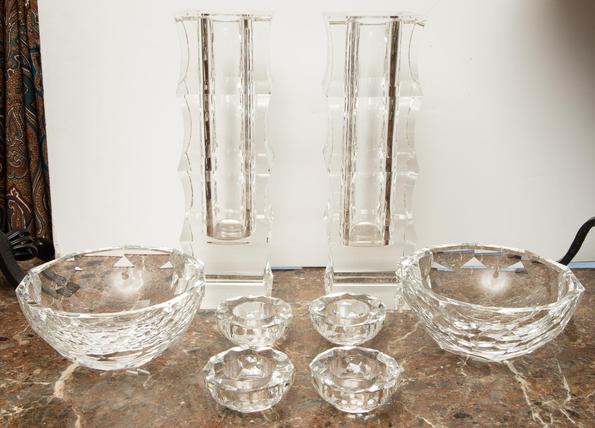Lot image - Group of Oleg Cassini Glass Table Articles