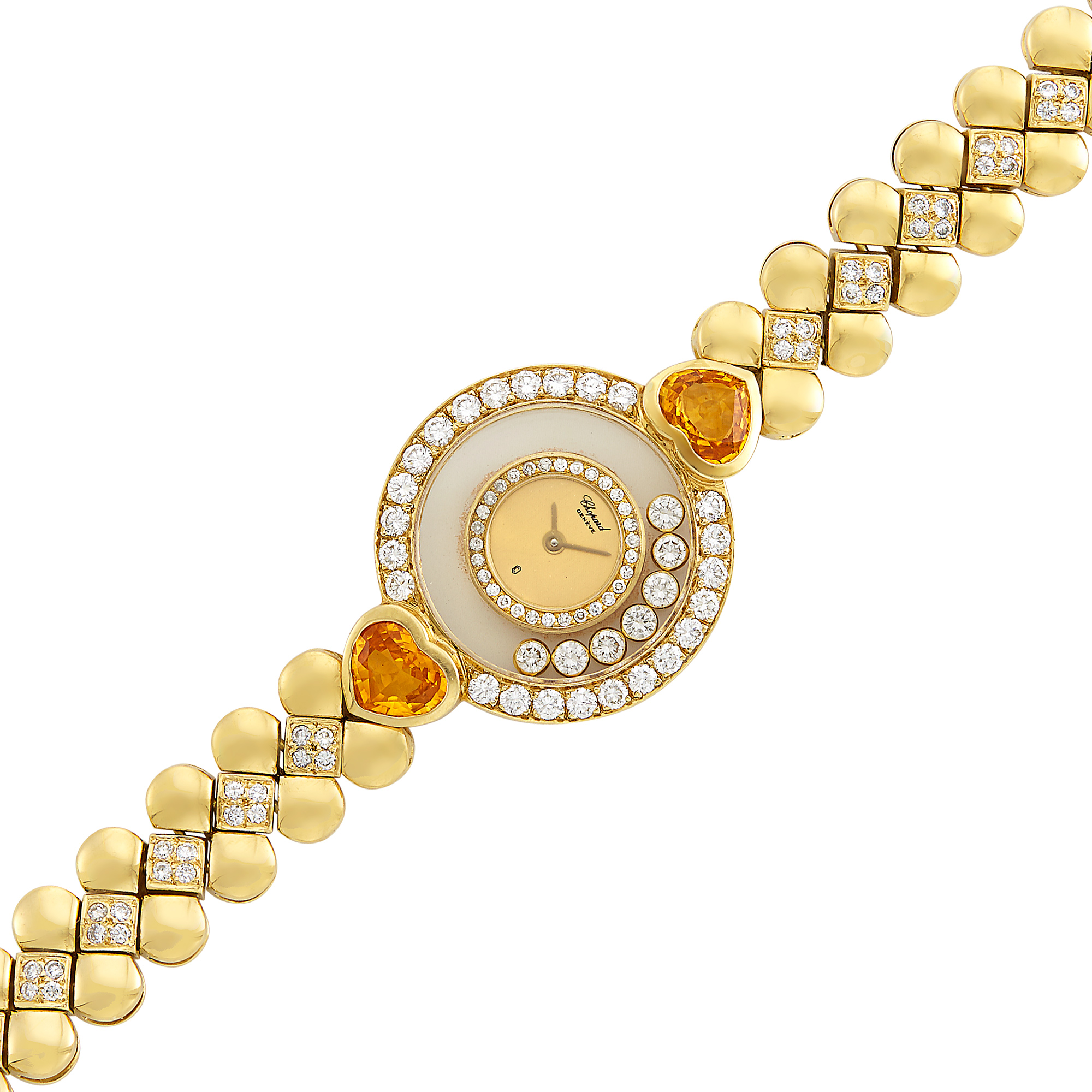 Lot image - Gold, Crystal, Diamond and Citrine Happy Diamonds Wristwatch, Chopard