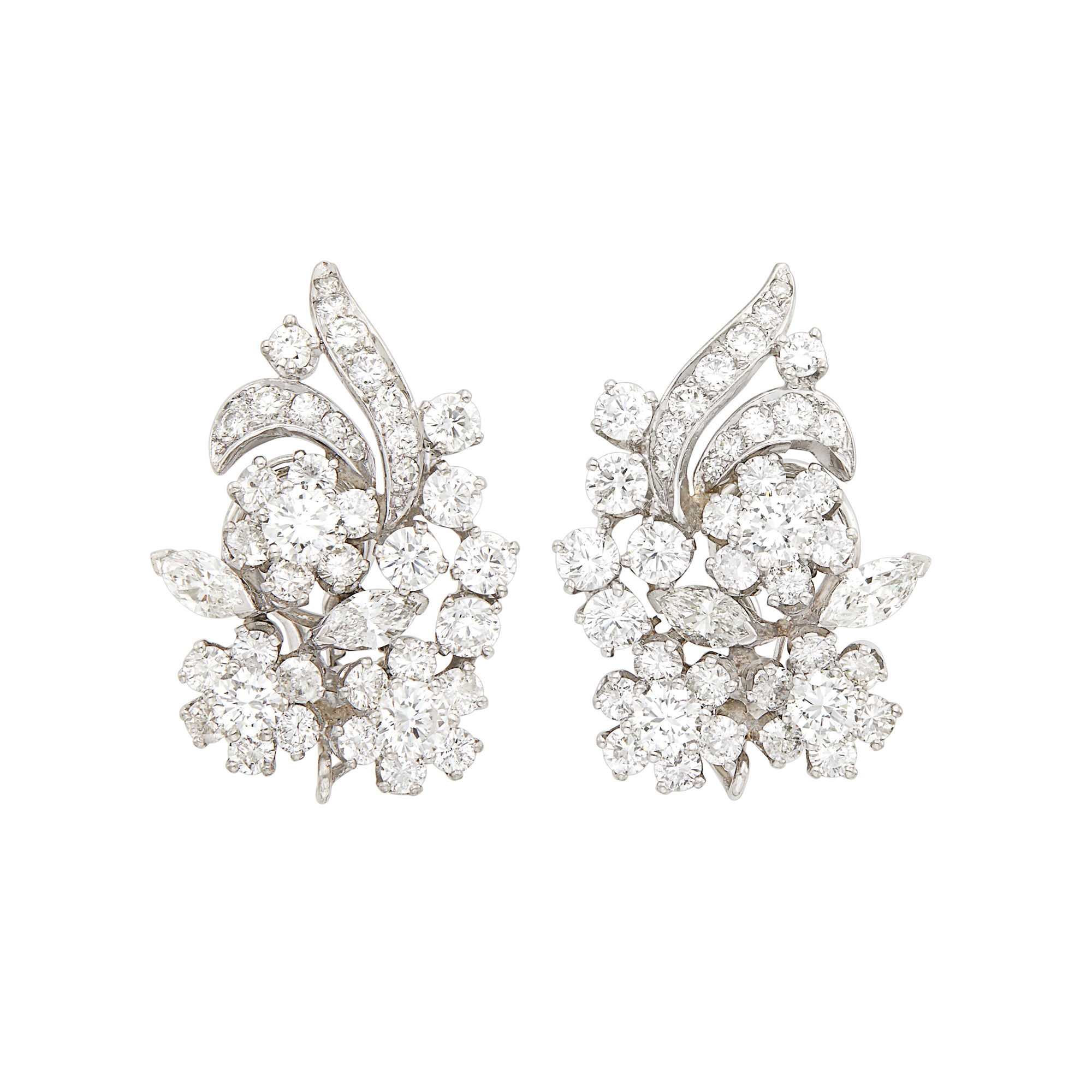 Lot image - Pair of Platinum and Diamond Flower Earclips